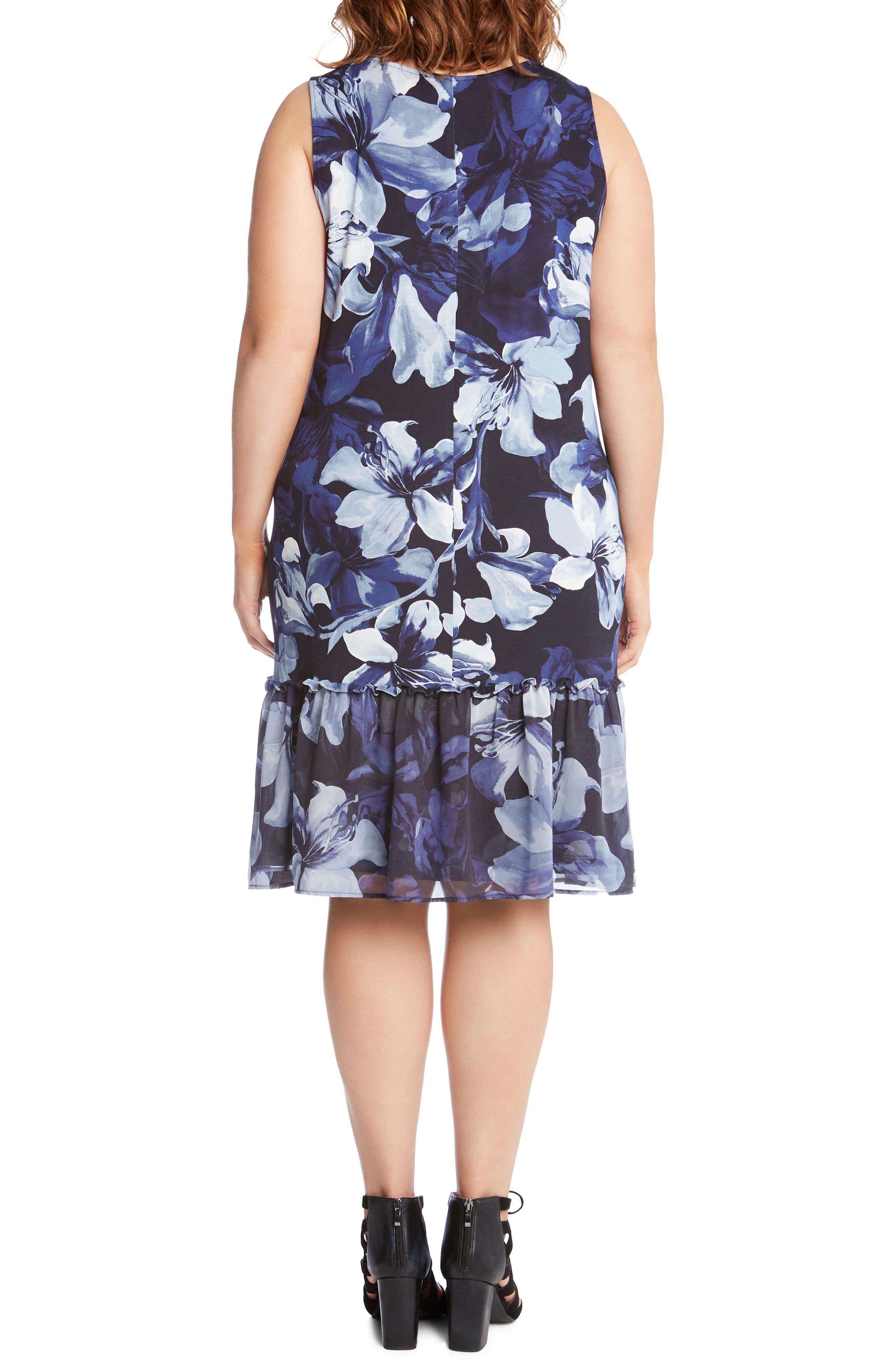Alternate Image 2  - Karen Kane Floral Ruffle Hem Georgette A-Line Dress (Plus Size)