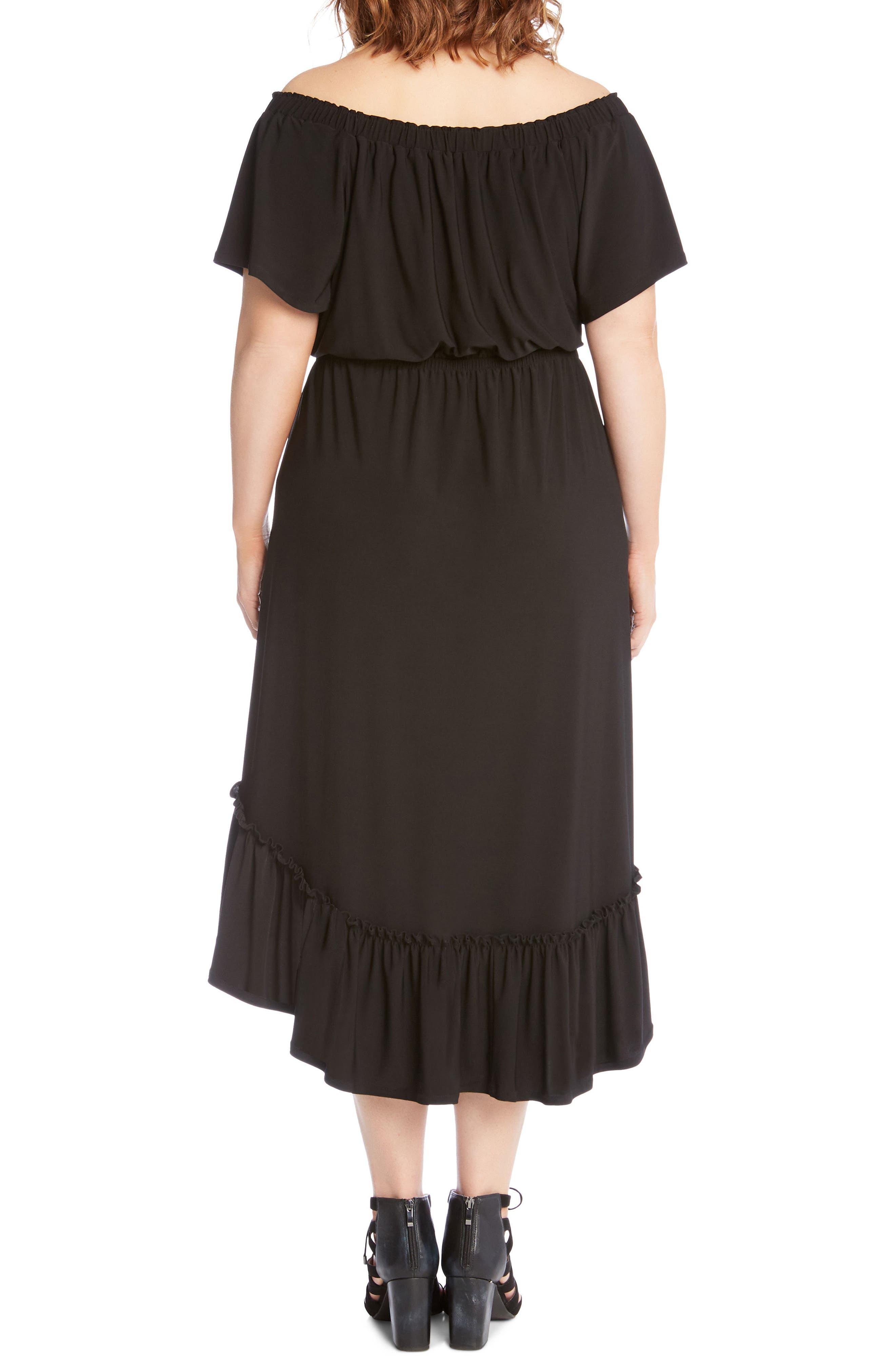 Ruffle Hem Off the Shoulder Dress,                             Alternate thumbnail 2, color,                             Black