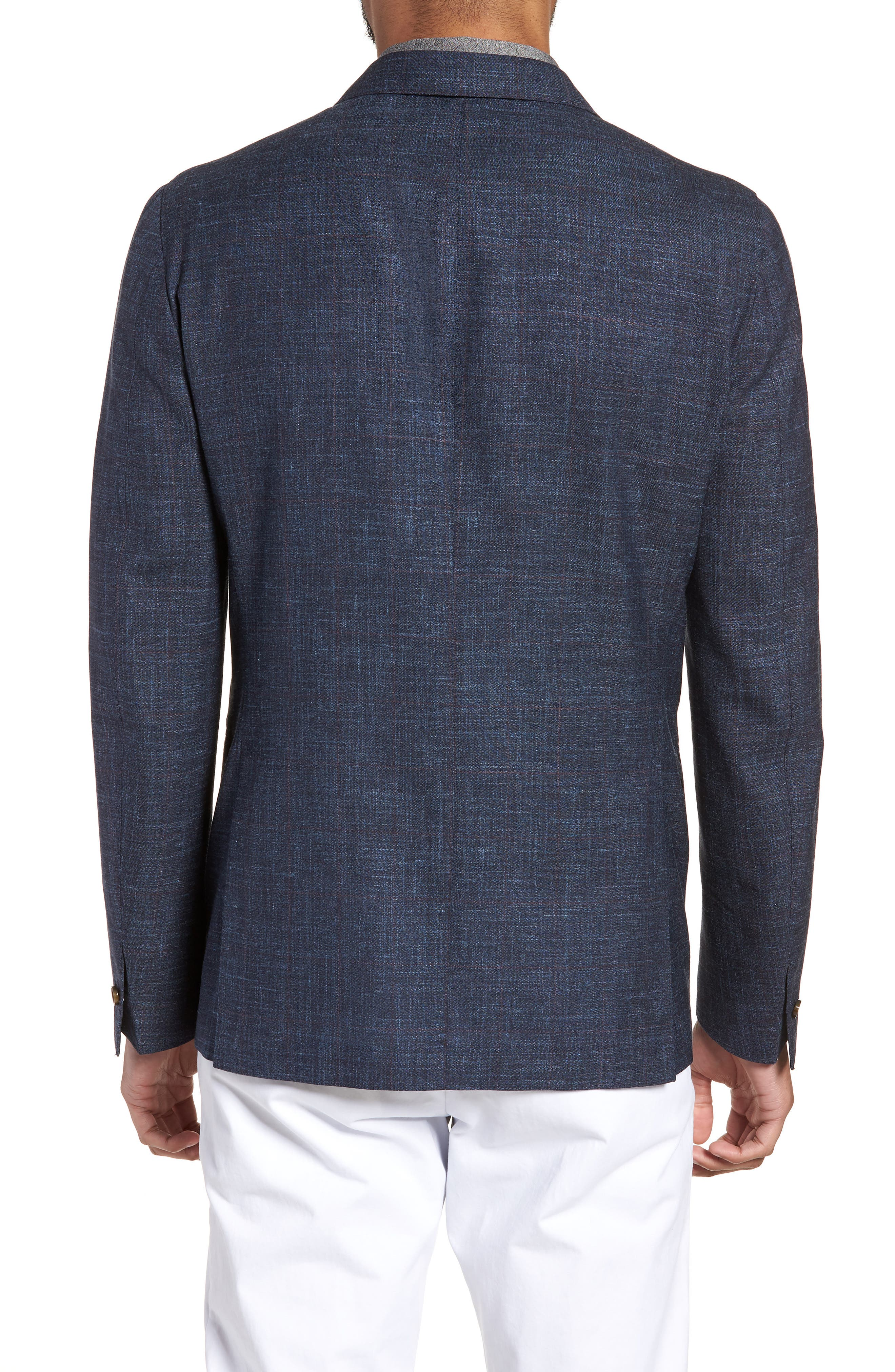 Trim Fit Wool Blend Blazer,                             Alternate thumbnail 2, color,                             Denim Blue