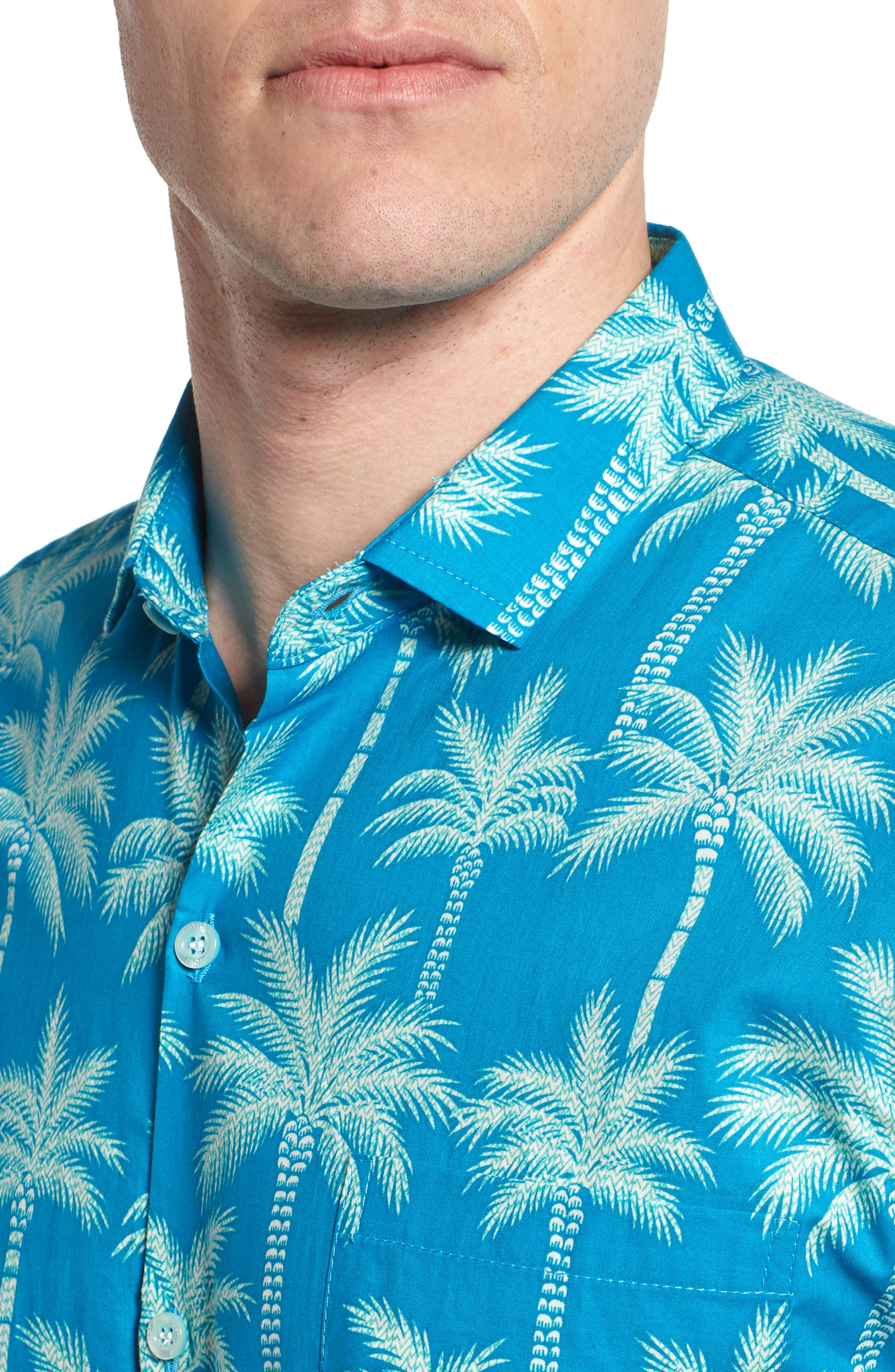 Erté Palm Camp Shirt,                             Alternate thumbnail 2, color,                             Wave