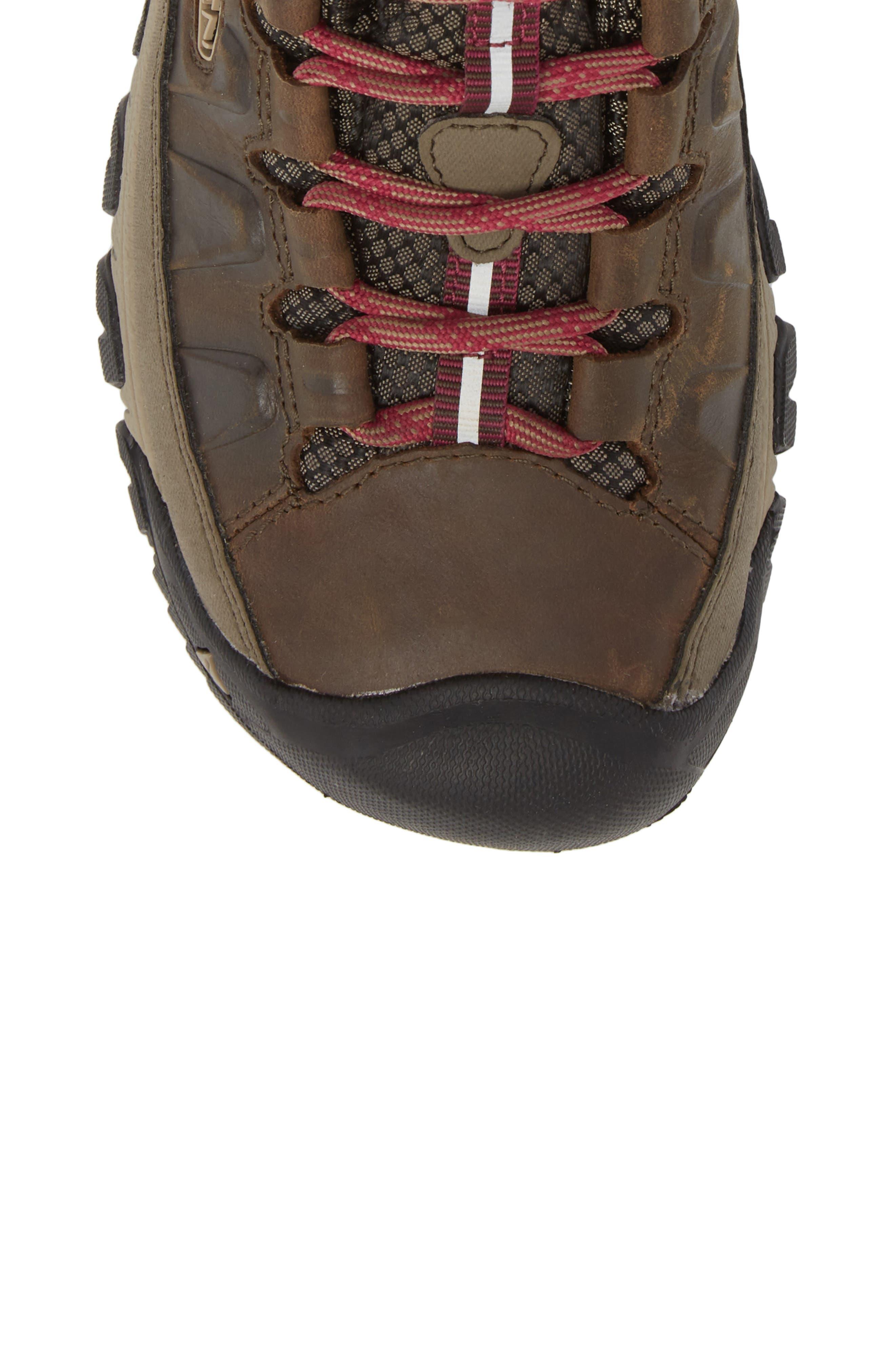 Targhee III Mid Waterproof Hiking Boot,                             Alternate thumbnail 5, color,                             Weiss/ Boysenberry Leather