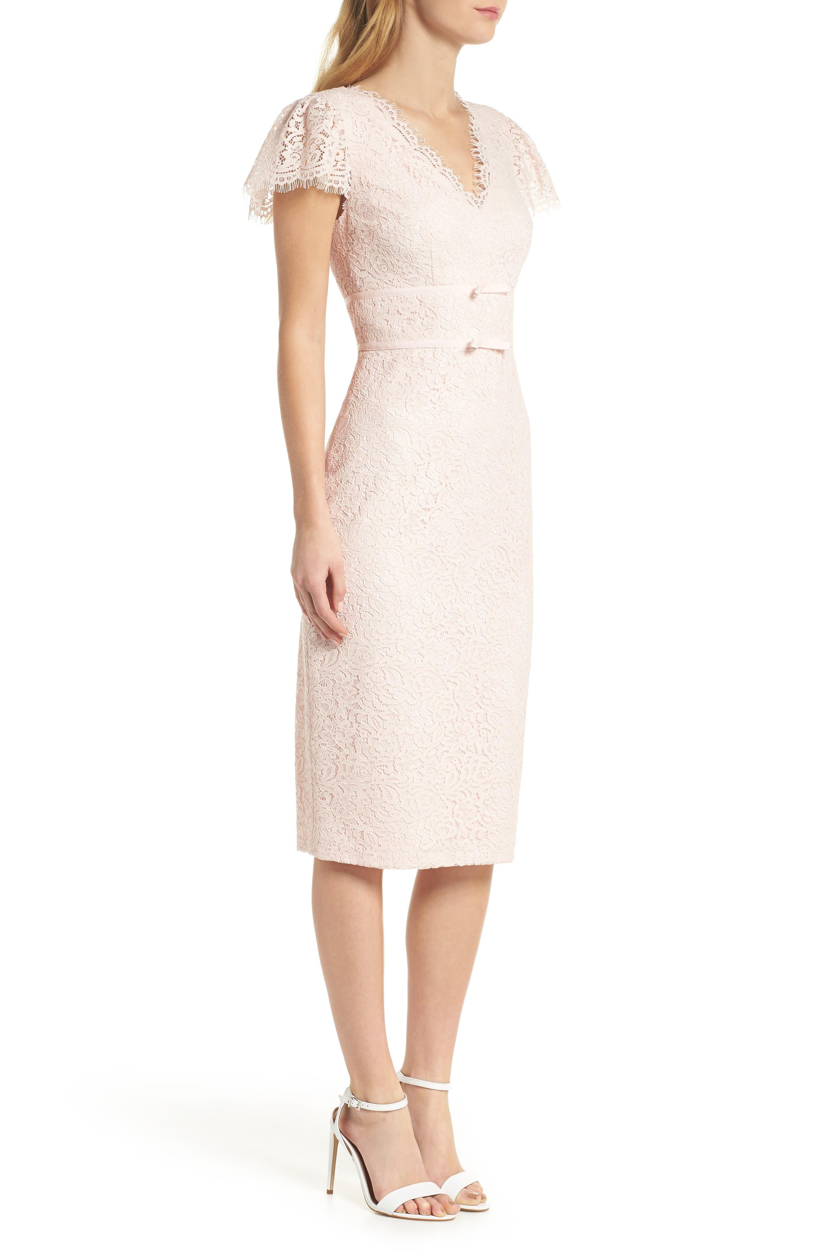 Ginger Rosebud Lace Sheath Dress,                             Alternate thumbnail 4, color,                             Blush