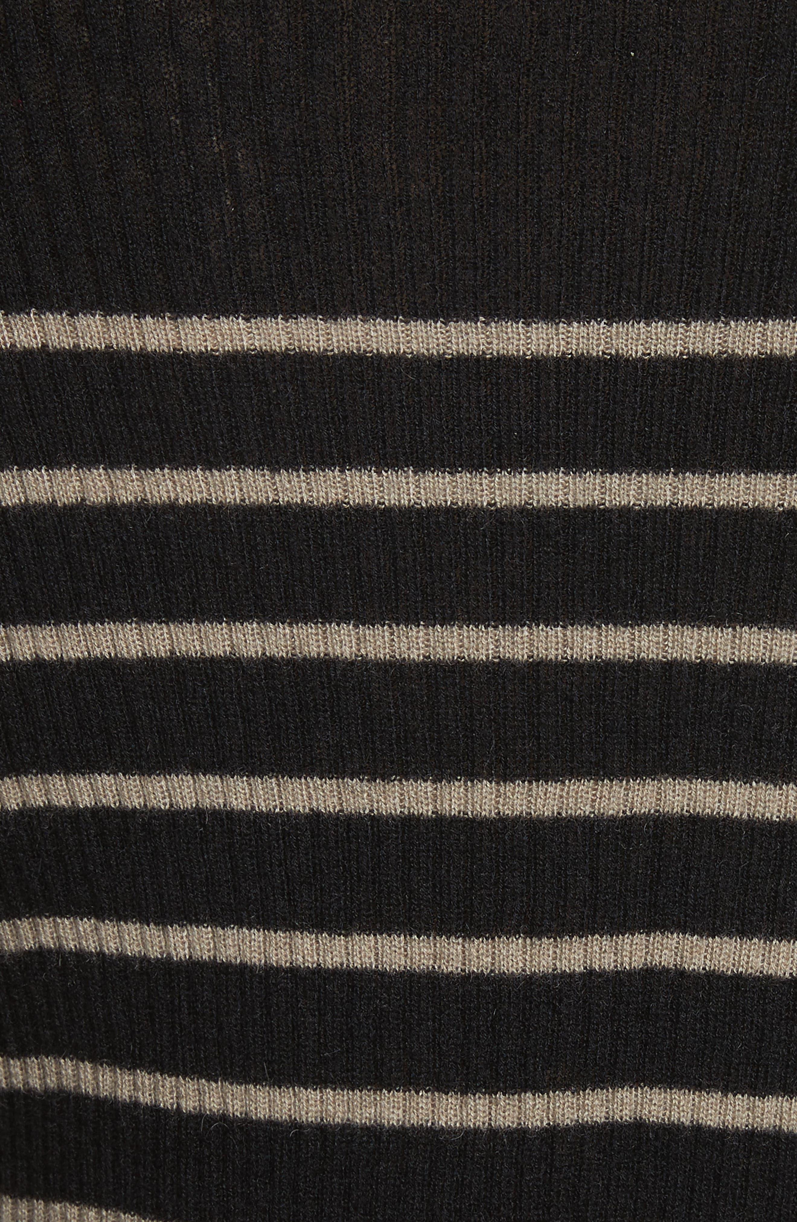 Stripe Ribbed Cashmere Sweater,                             Alternate thumbnail 5, color,                             Black/ Pebble Taupe
