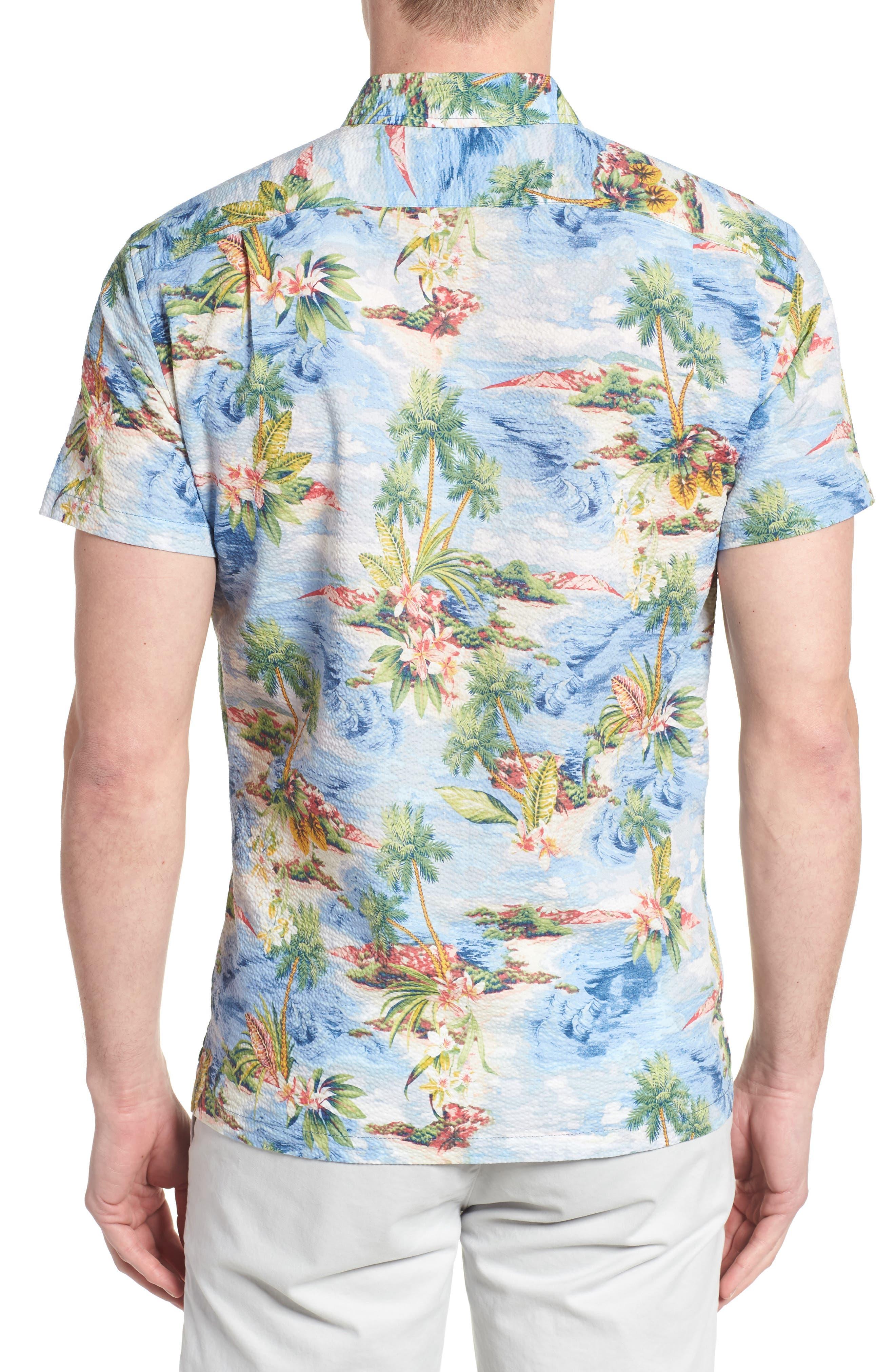 Private Isle Trim Fit Camp Shirt,                             Alternate thumbnail 3, color,                             Wave