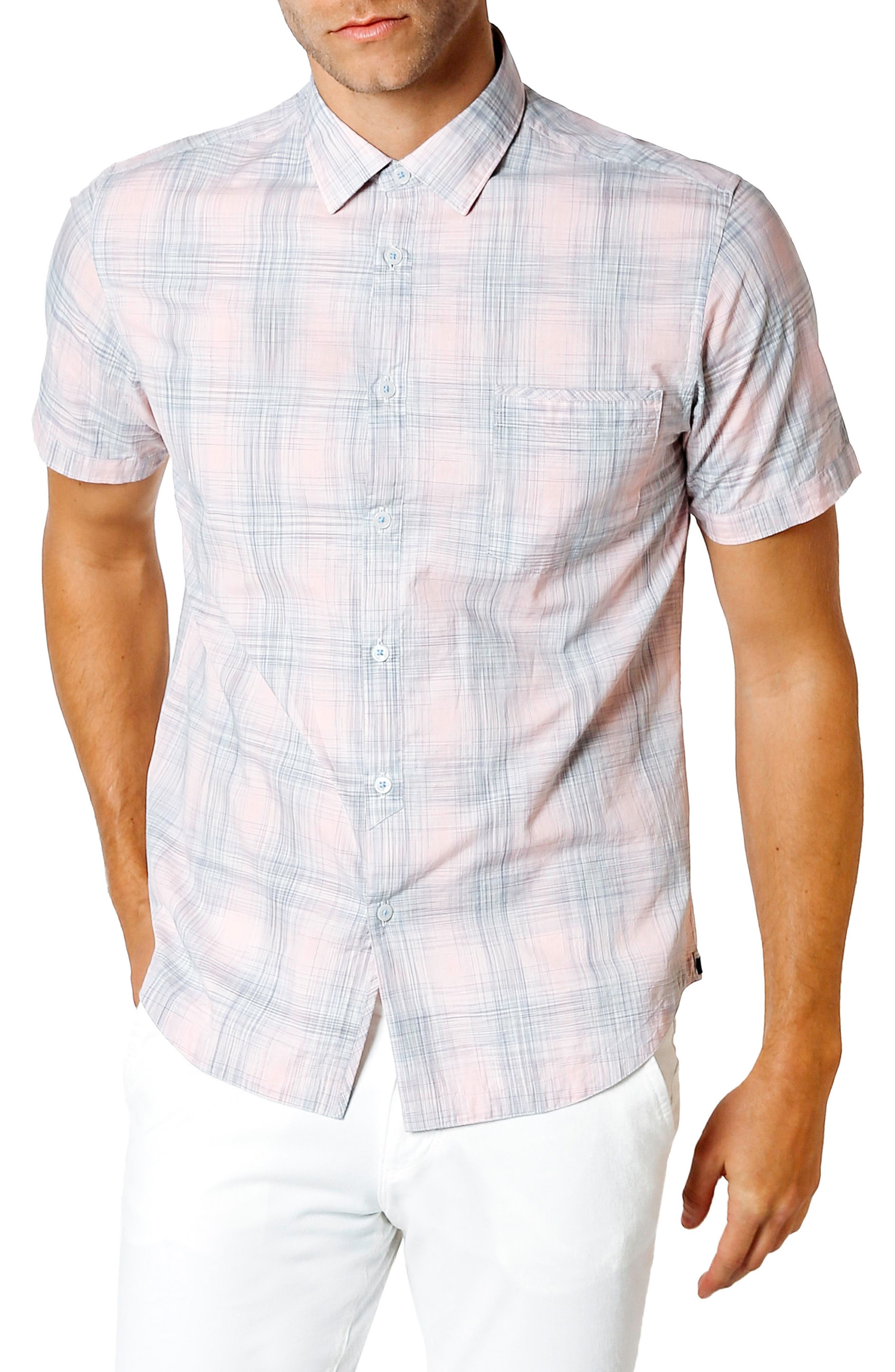 Trim Fit Short Sleeve Sport Shirt,                             Main thumbnail 1, color,                             Pink