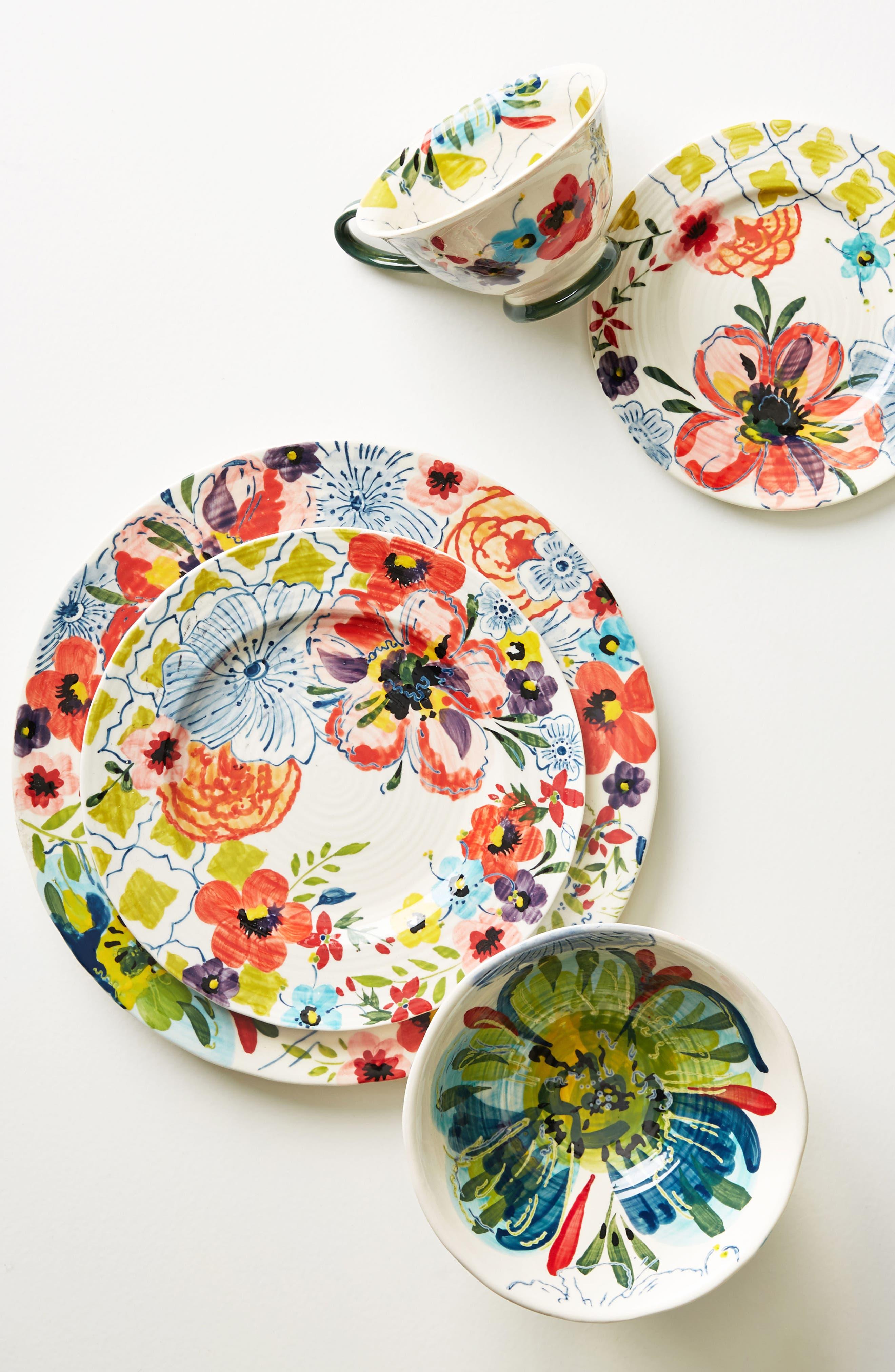 Sissinghurst Castle Stoneware Cereal Bowl,                             Alternate thumbnail 2, color,                             Navy Multi