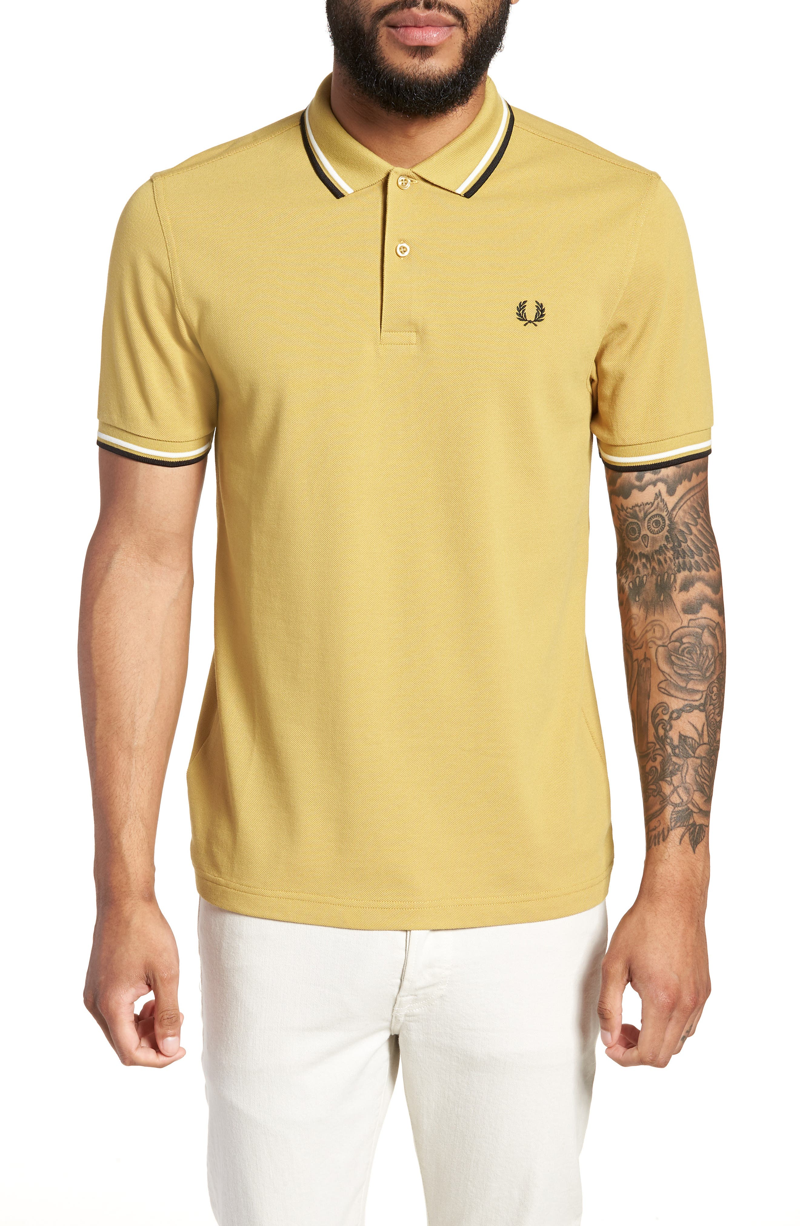 Extra Trim Fit Twin Tipped Piqué Polo,                         Main,                         color, Sand/ Snow White/ Black