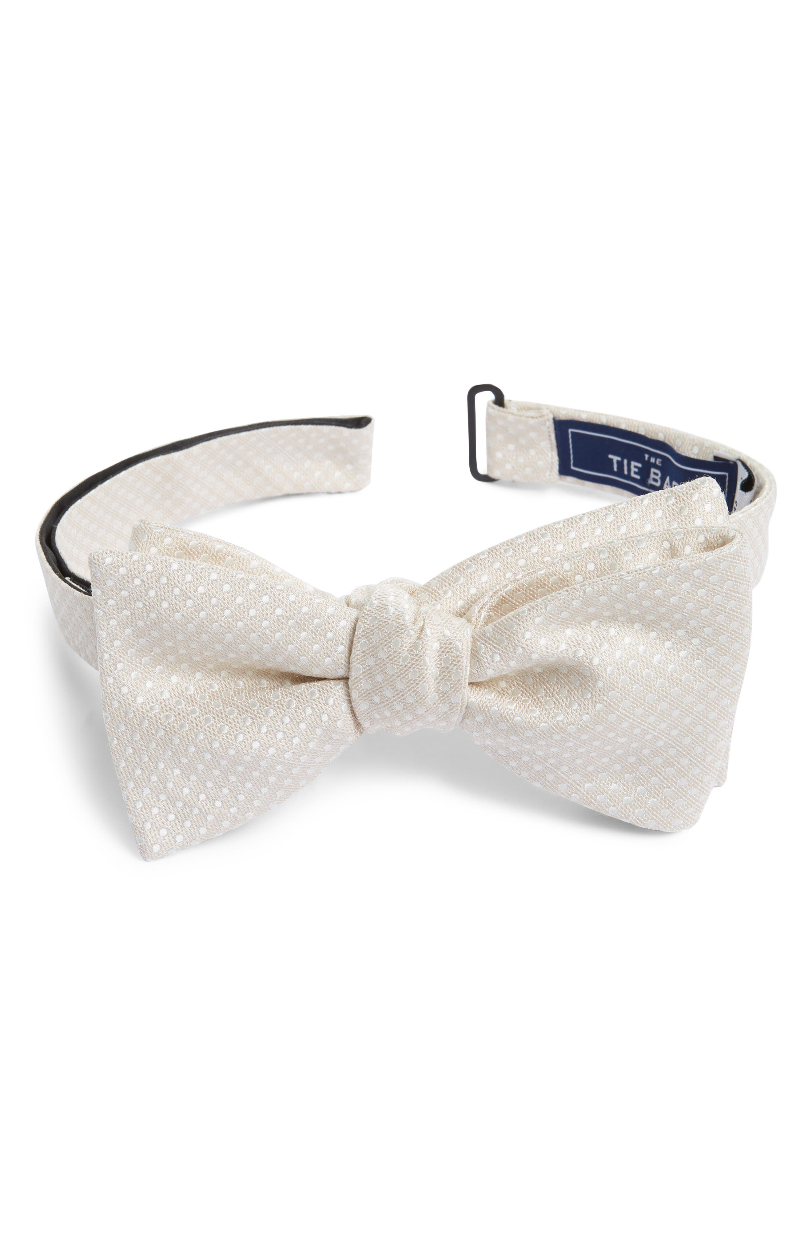 Dotted Spin Silk & Linen Bow Tie,                             Main thumbnail 1, color,                             Light Champagne