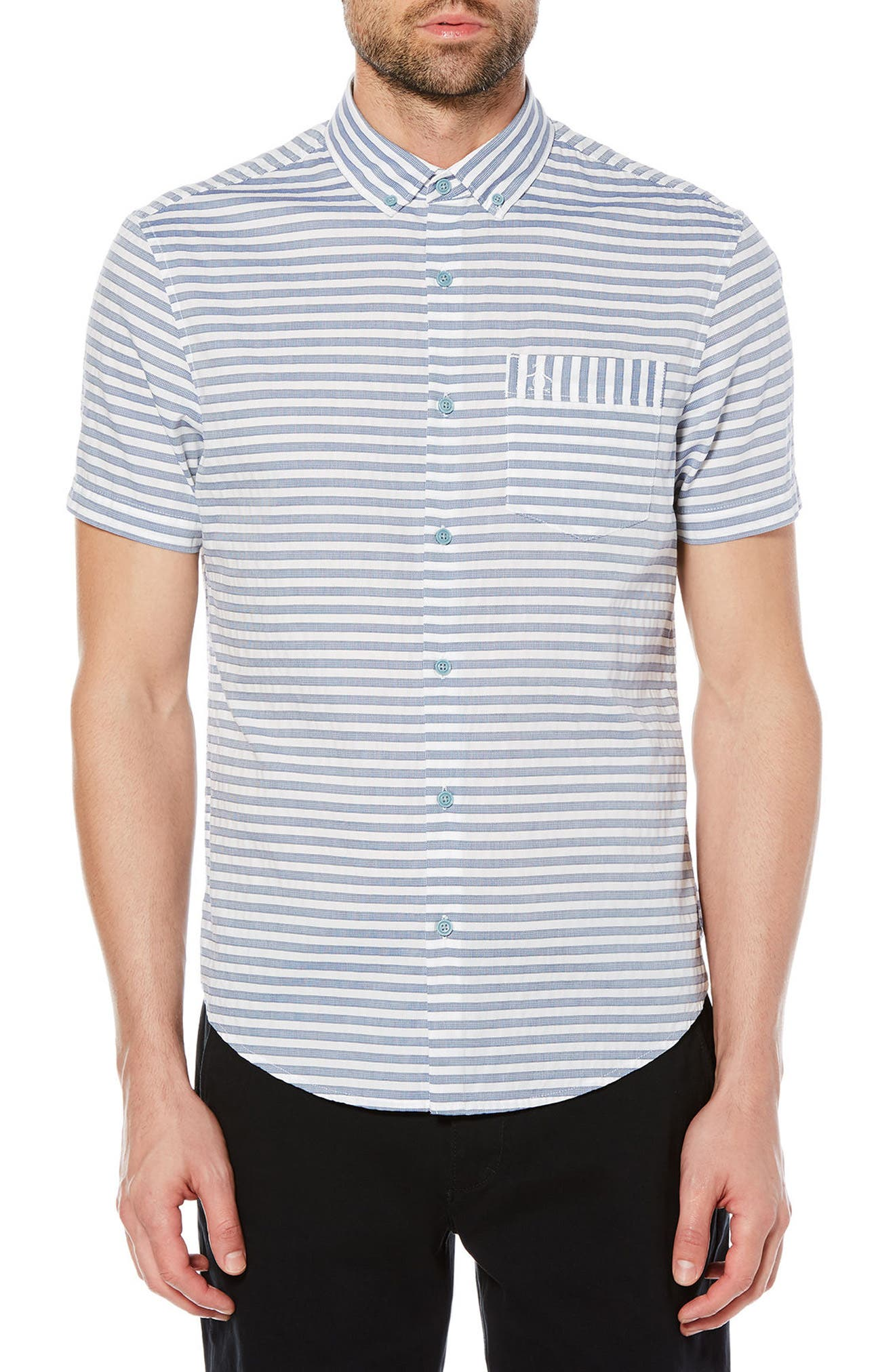 Dobby Stripe Shirt,                             Main thumbnail 1, color,                             Dark Sapphire