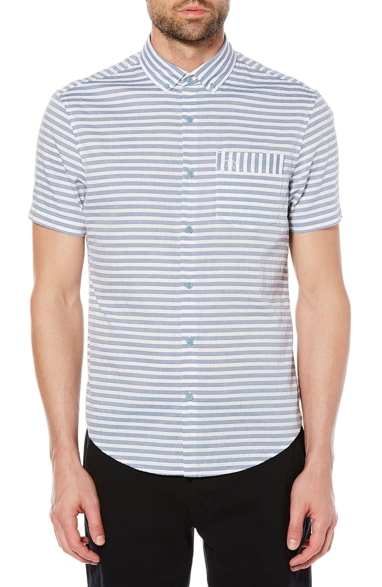 Dobby Stripe Shirt,                         Main,                         color, Dark Sapphire