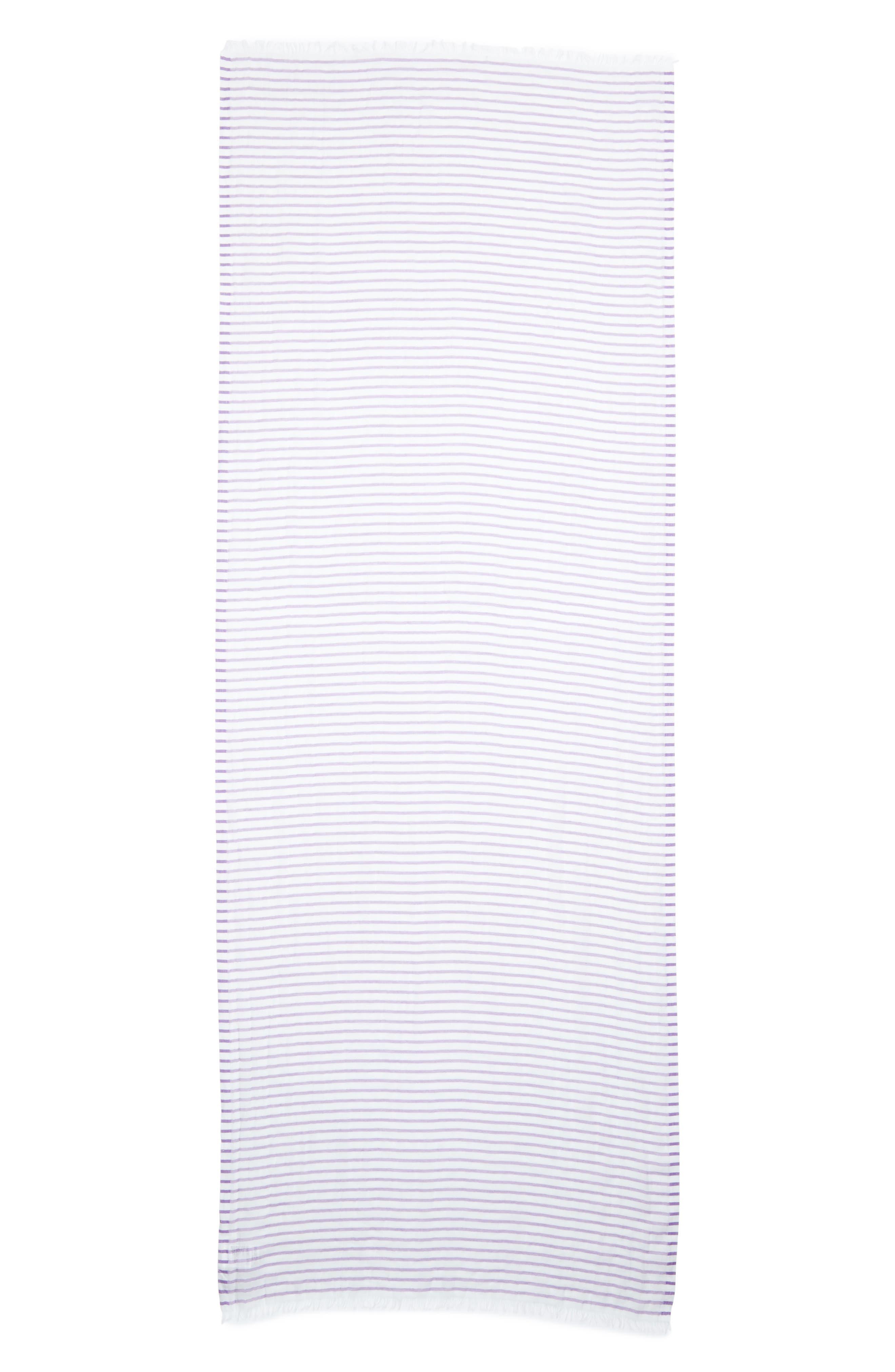 Reed Stripe Cotton & Linen Scarf,                         Main,                         color, Mauve