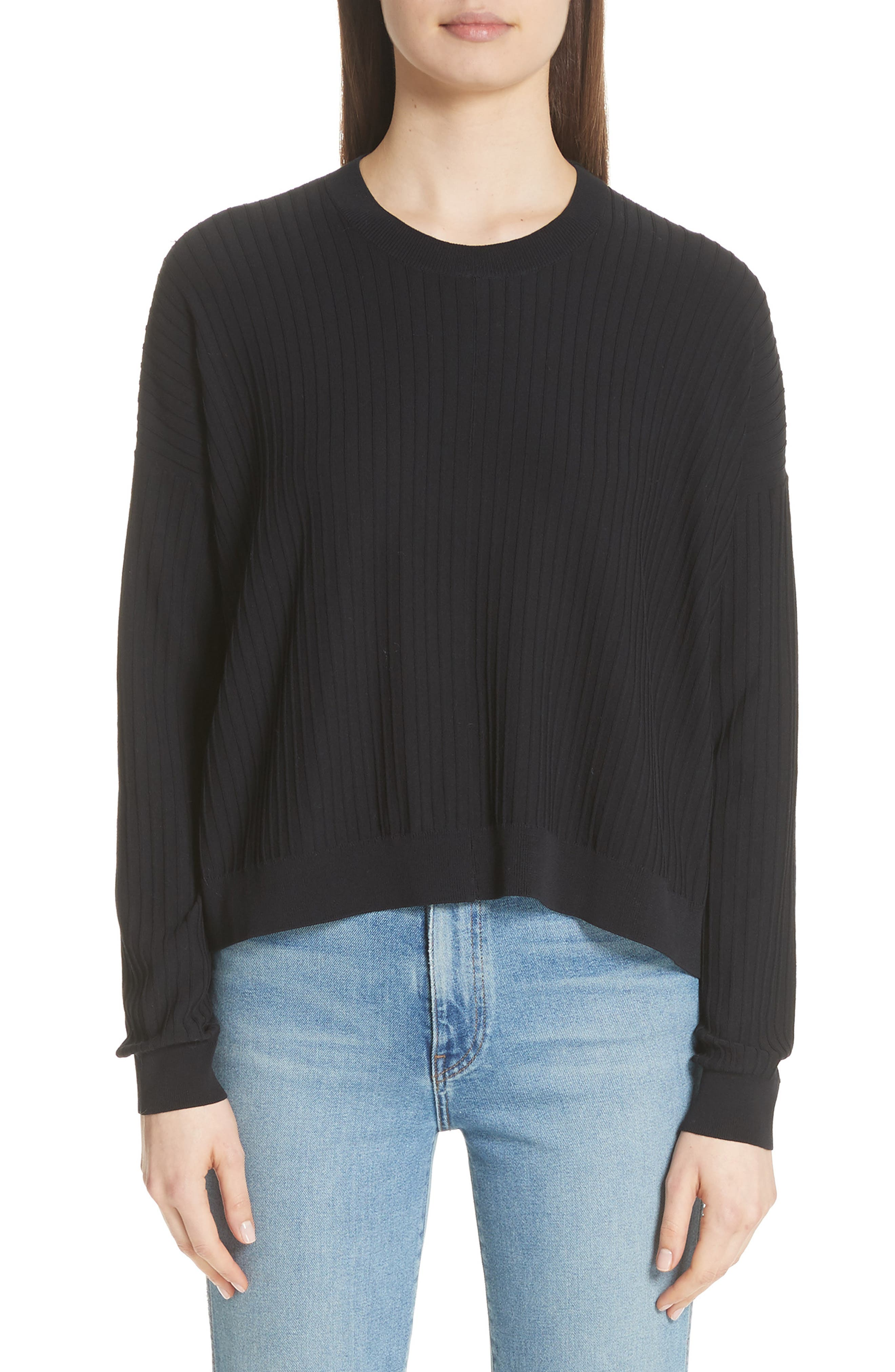 Issy Ribbed Sweater,                             Main thumbnail 1, color,                             Black