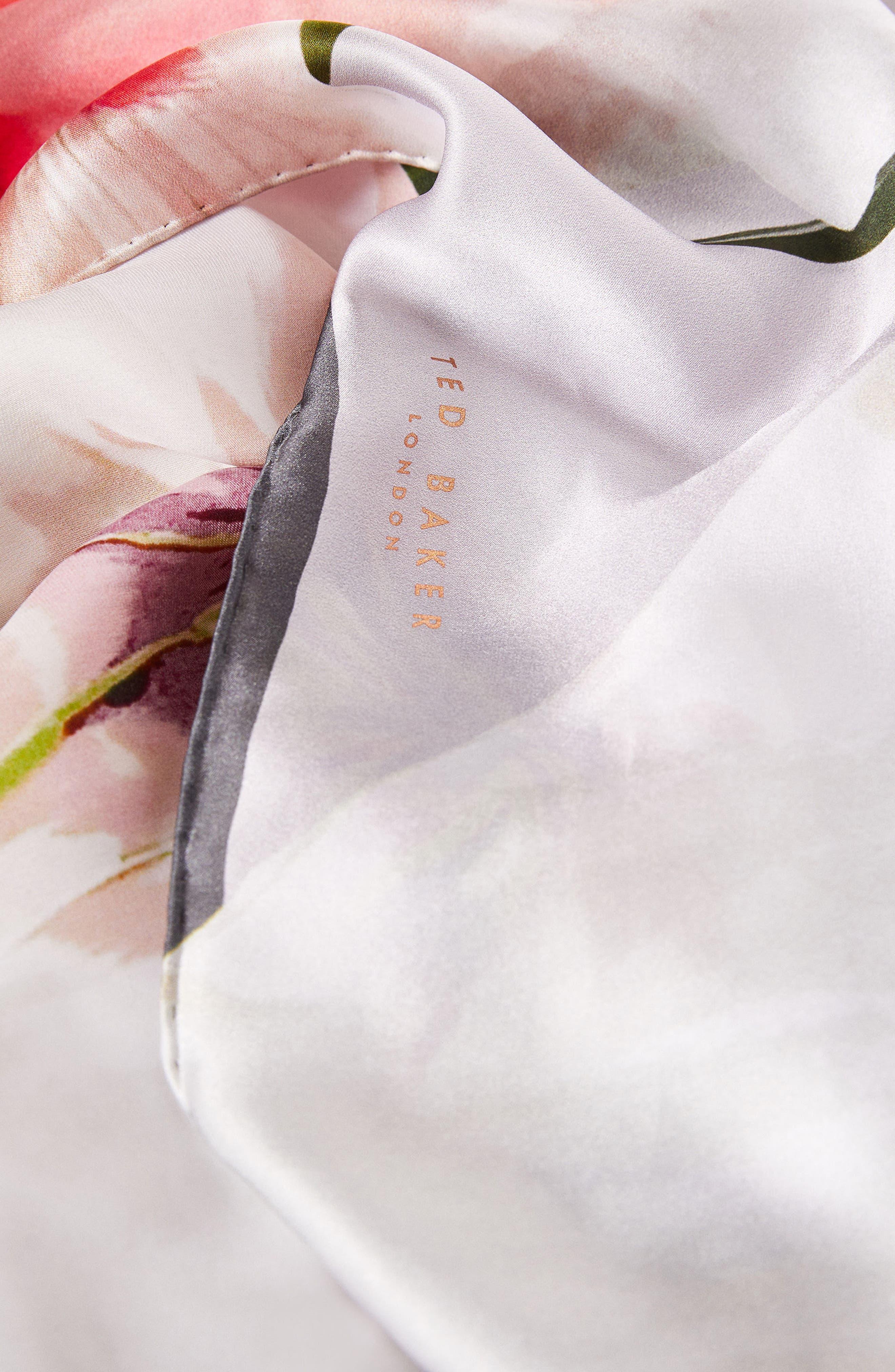Chatsworth Blossom Silk Scarf,                             Alternate thumbnail 2, color,                             Mid Grey