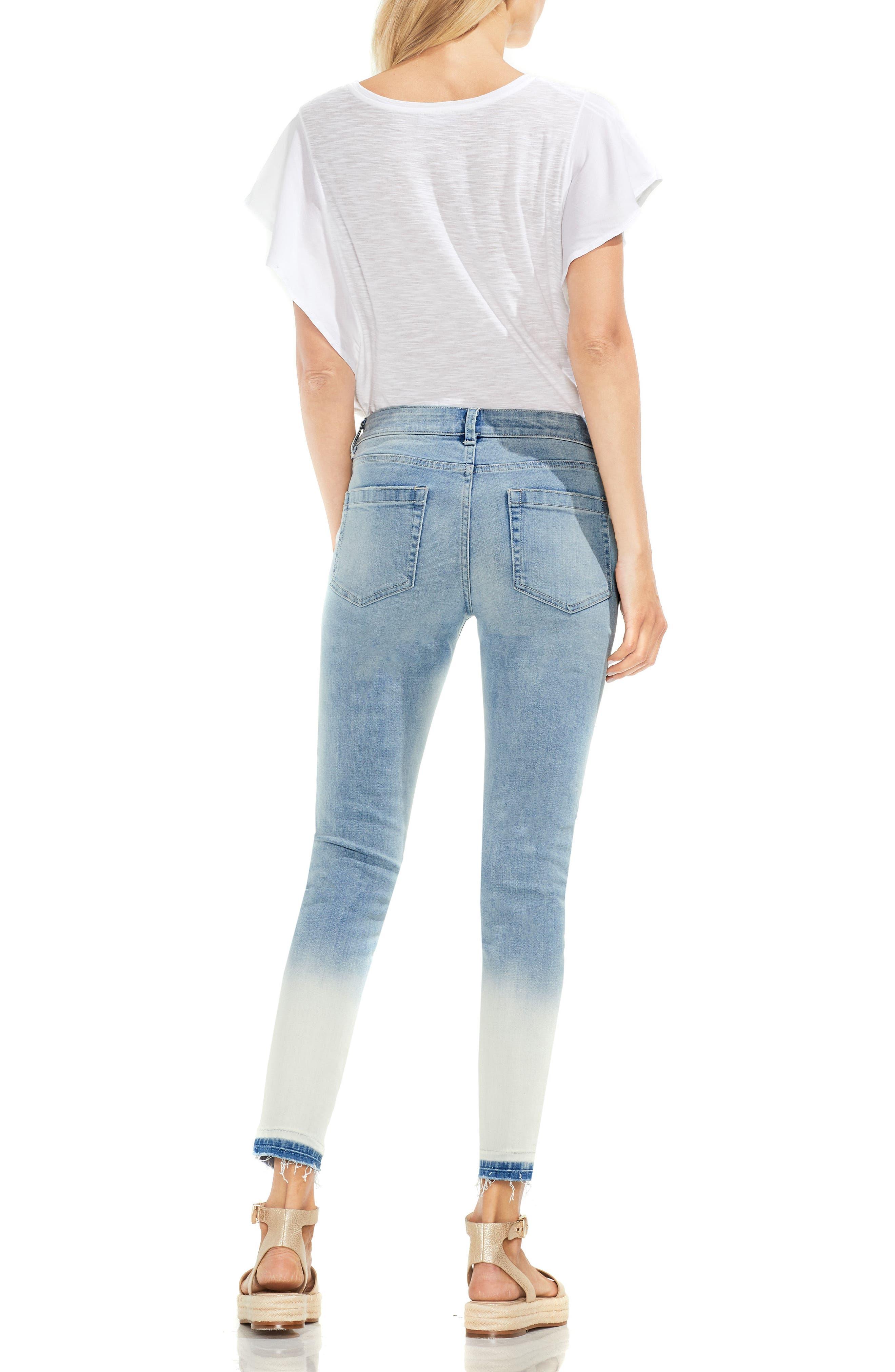 Ombré Release Hem Skinny Ankle Jeans,                             Alternate thumbnail 2, color,                             Sun Wash Blue