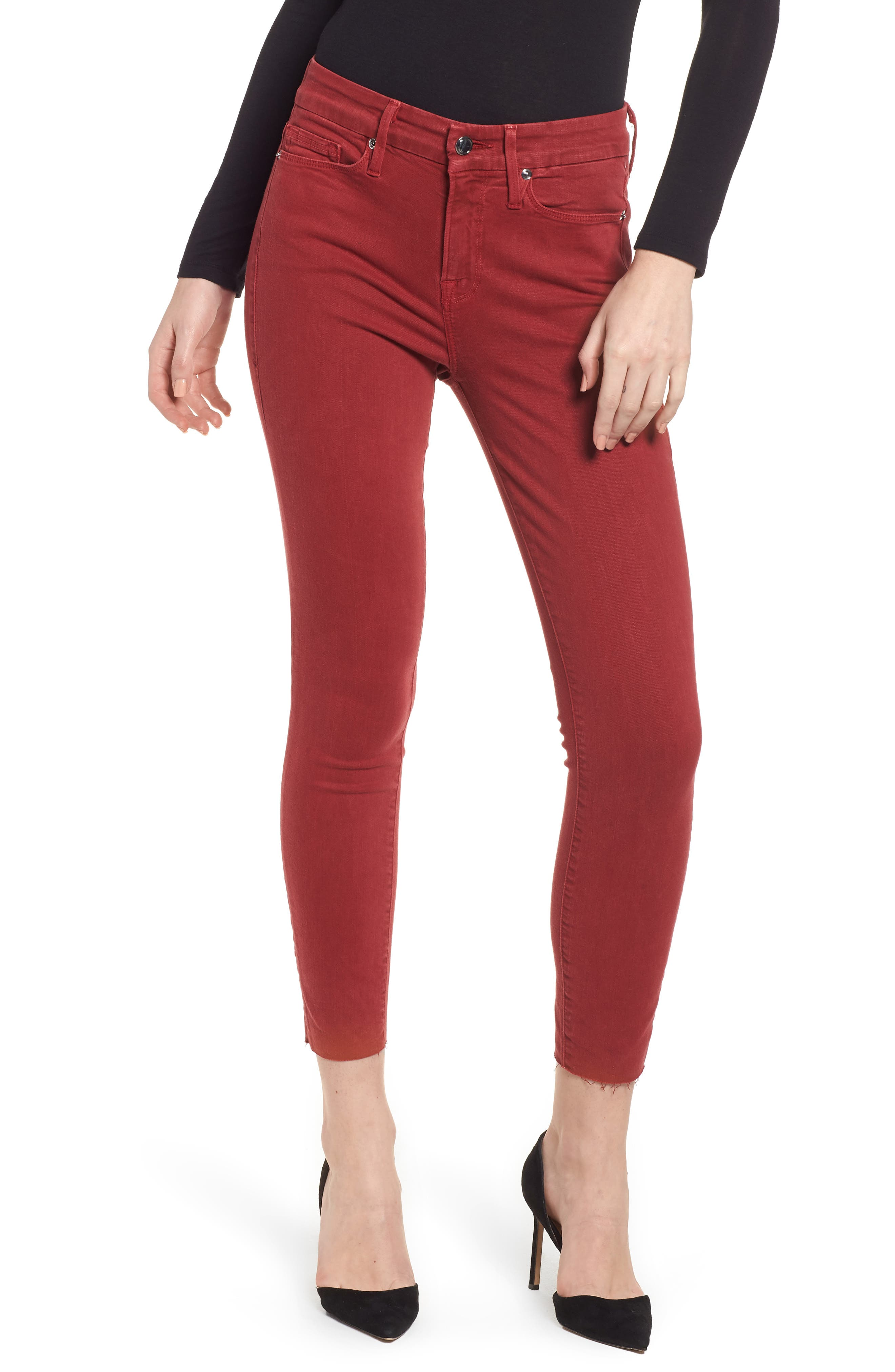 Good Legs Raw Edge Crop Skinny Jeans,                             Main thumbnail 1, color,                             Red