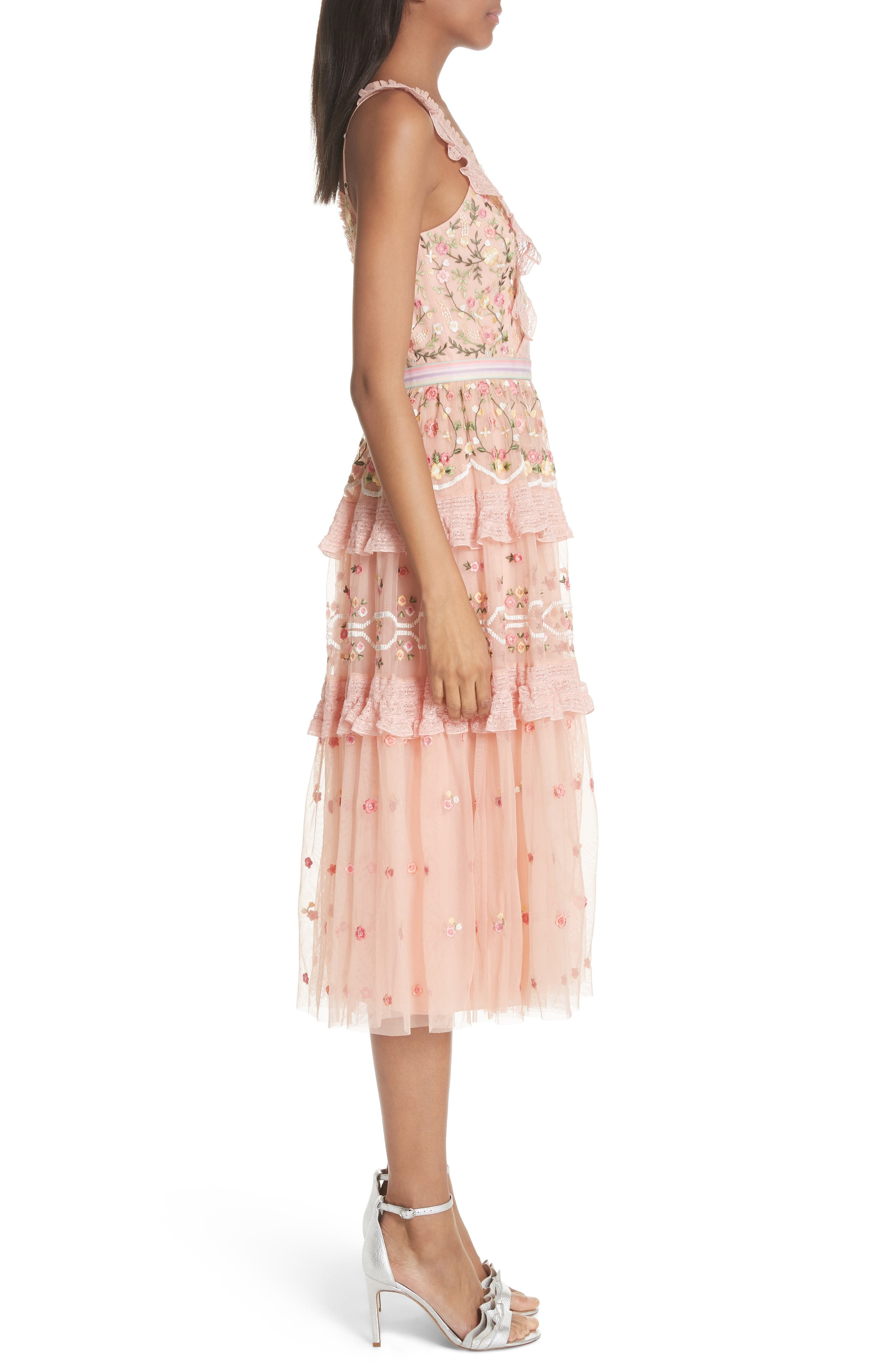 Lattice Rose Tiered Midi Dress,                             Alternate thumbnail 3, color,                             Coral