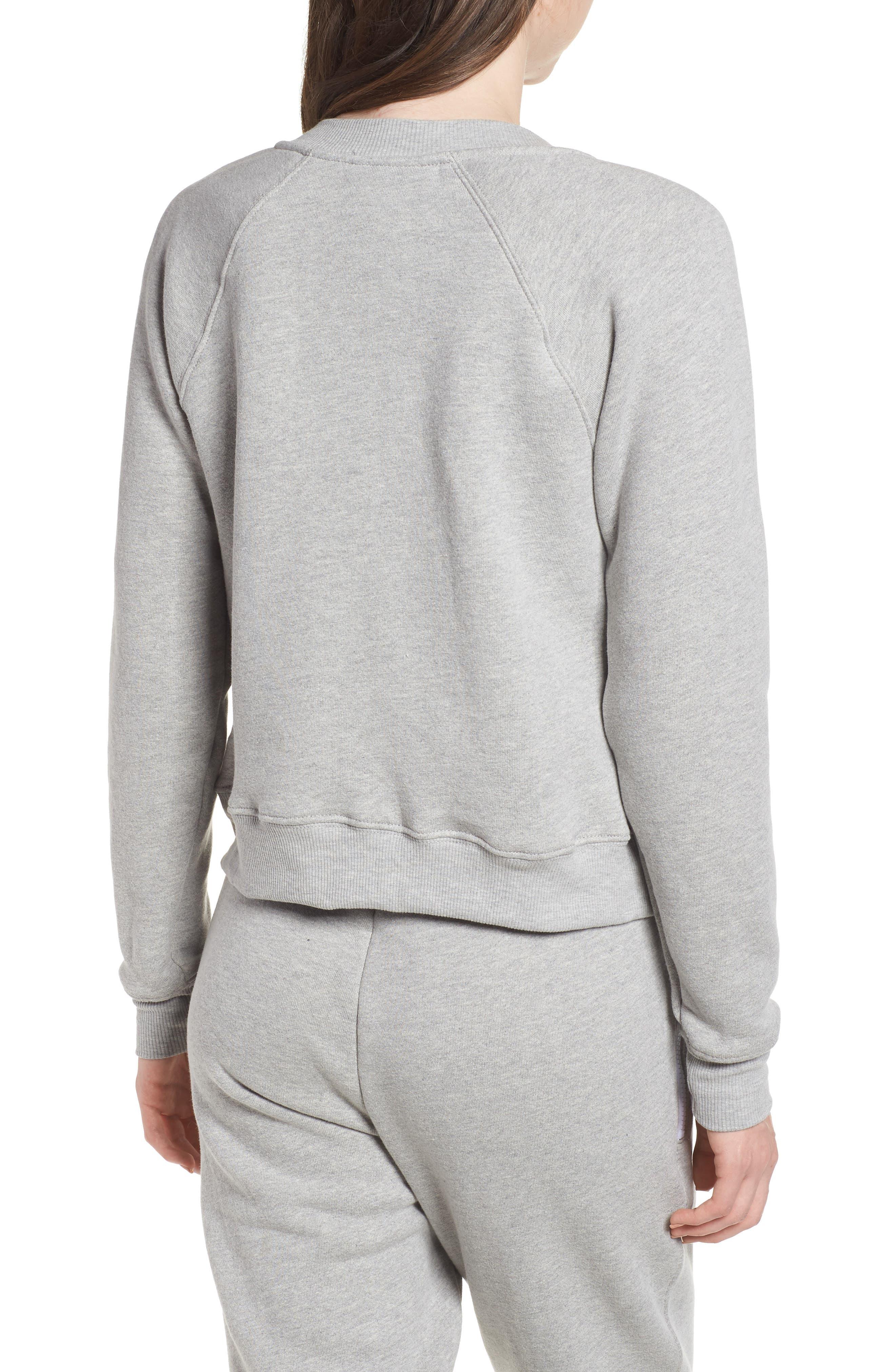Crop Zip Sweatshirt,                             Alternate thumbnail 2, color,                             Heather Grey