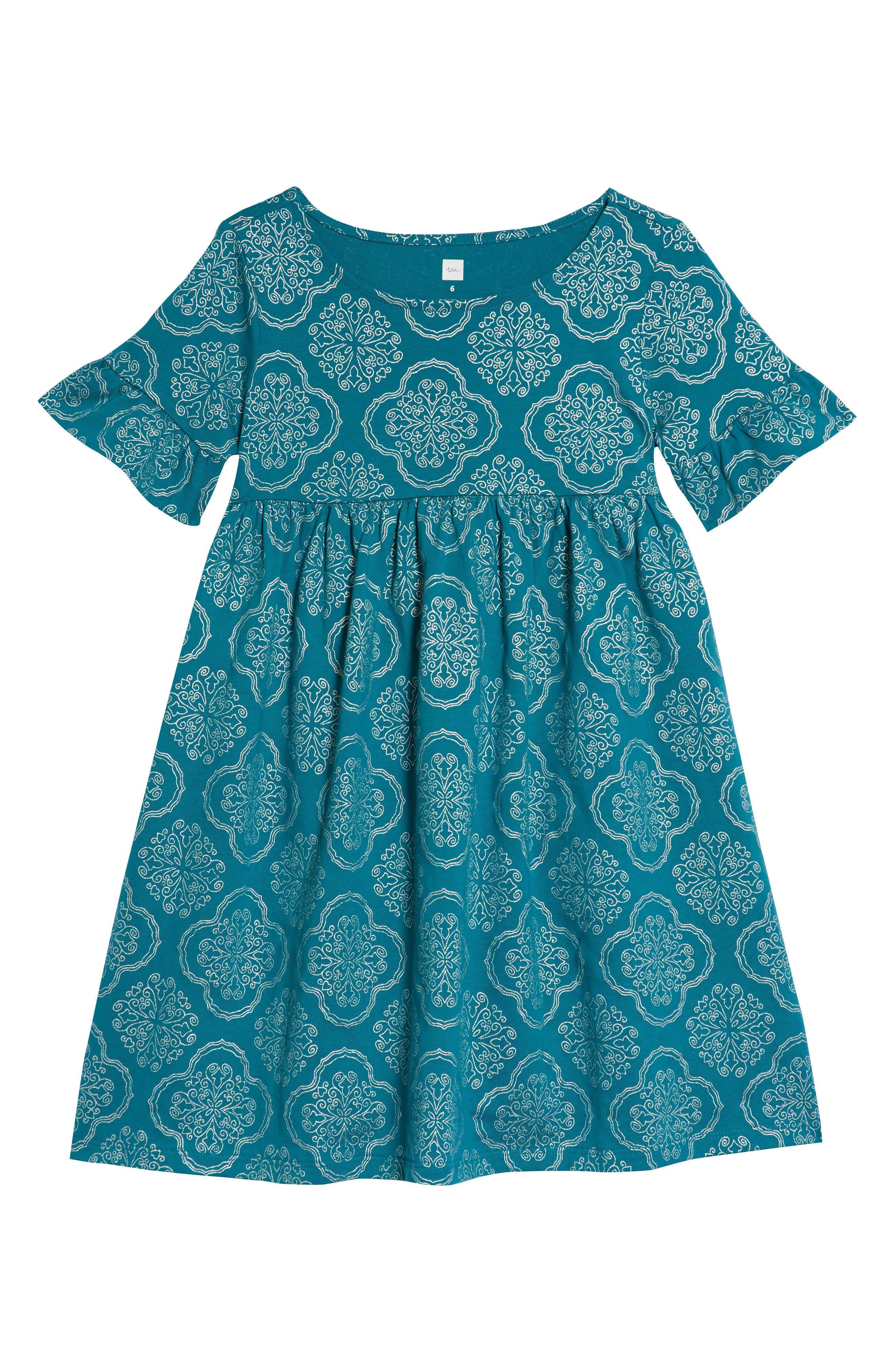 Ruffle Sleeve Dress,                         Main,                         color, New Orleans Tile