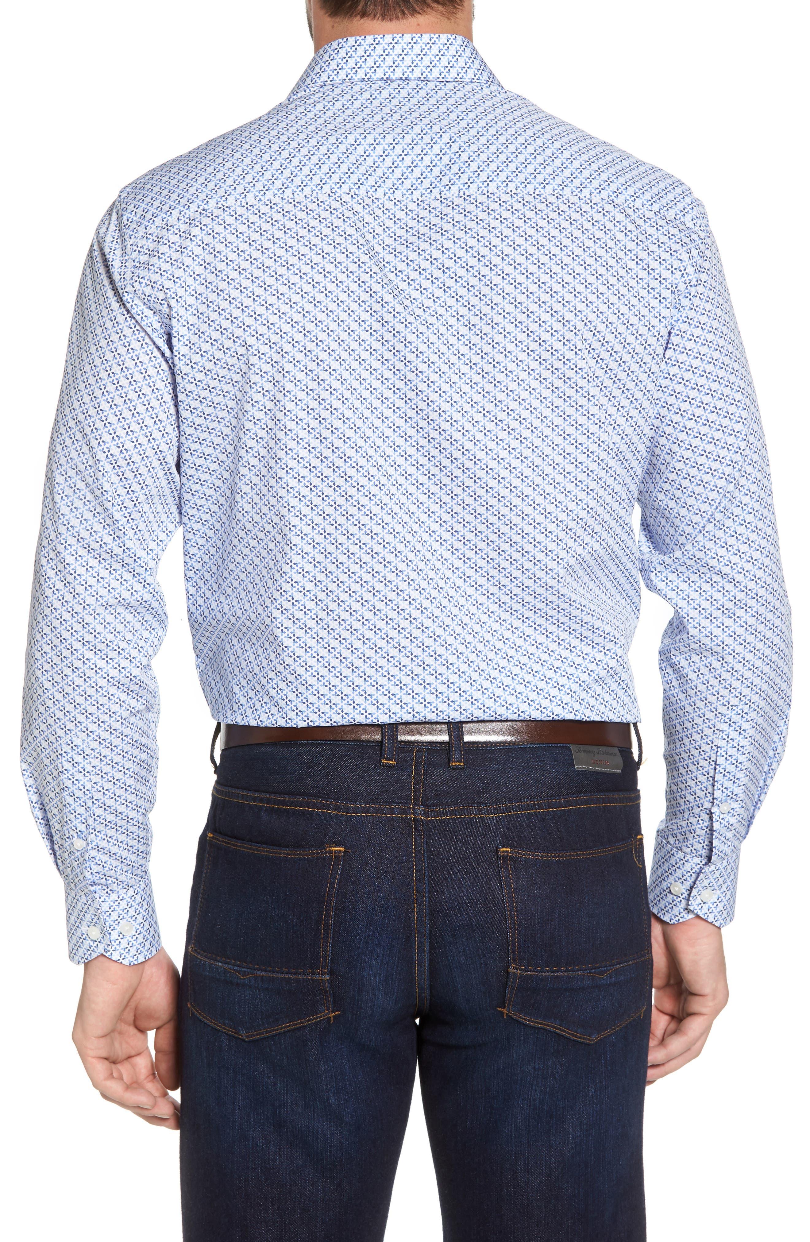 Barrett Regular Fit Print Sport Shirt,                             Alternate thumbnail 2, color,                             Light Blue