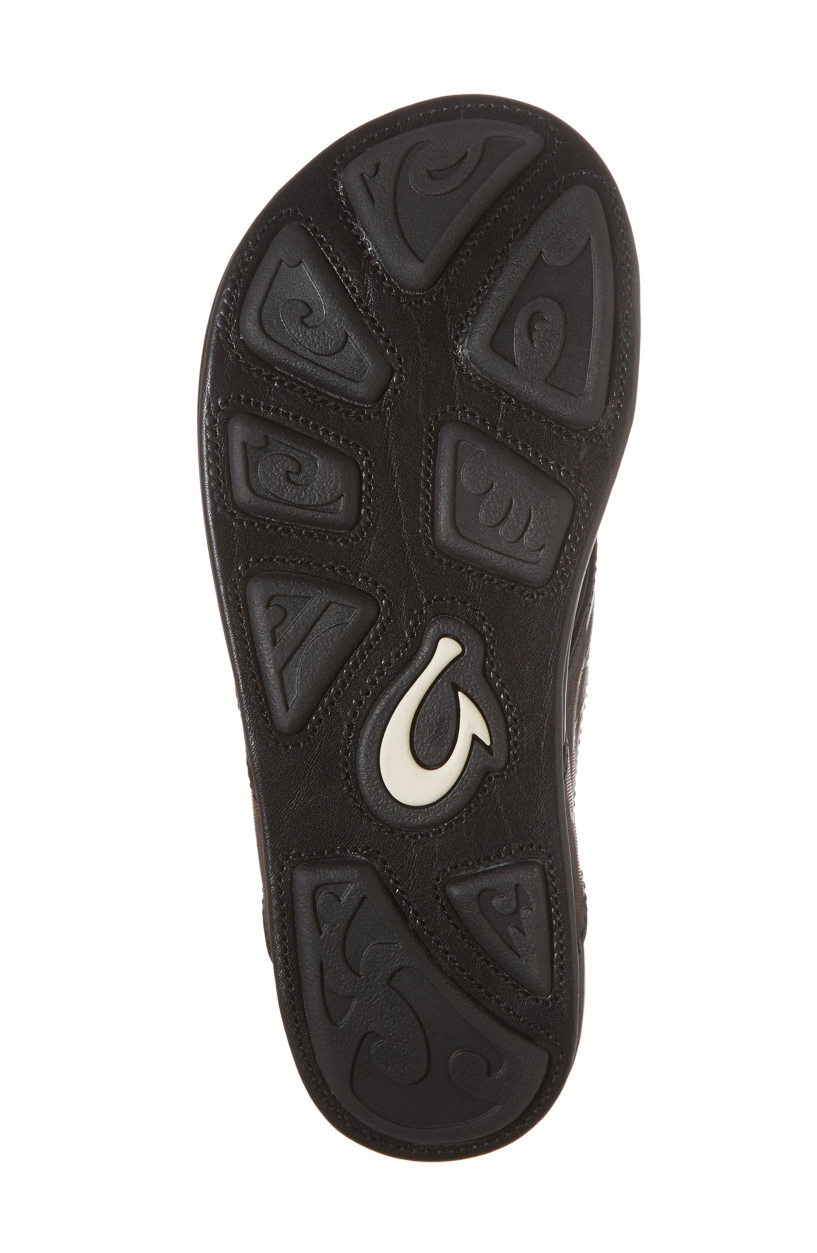 Kulia Flip Flop,                             Alternate thumbnail 6, color,                             Black/ Black Leather