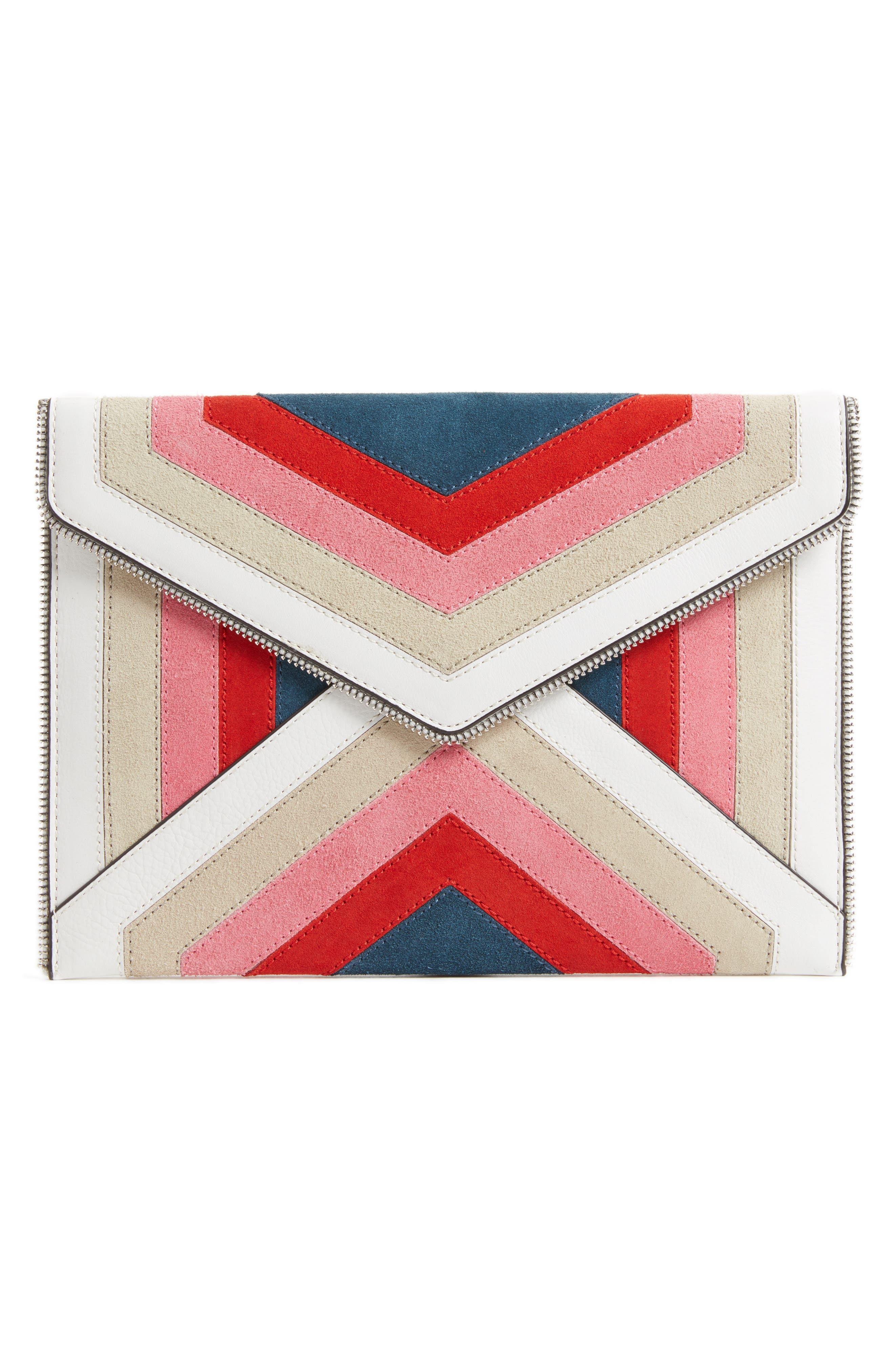 Leo Chevron Stripe Envelope Clutch,                         Main,                         color, Pink Multi