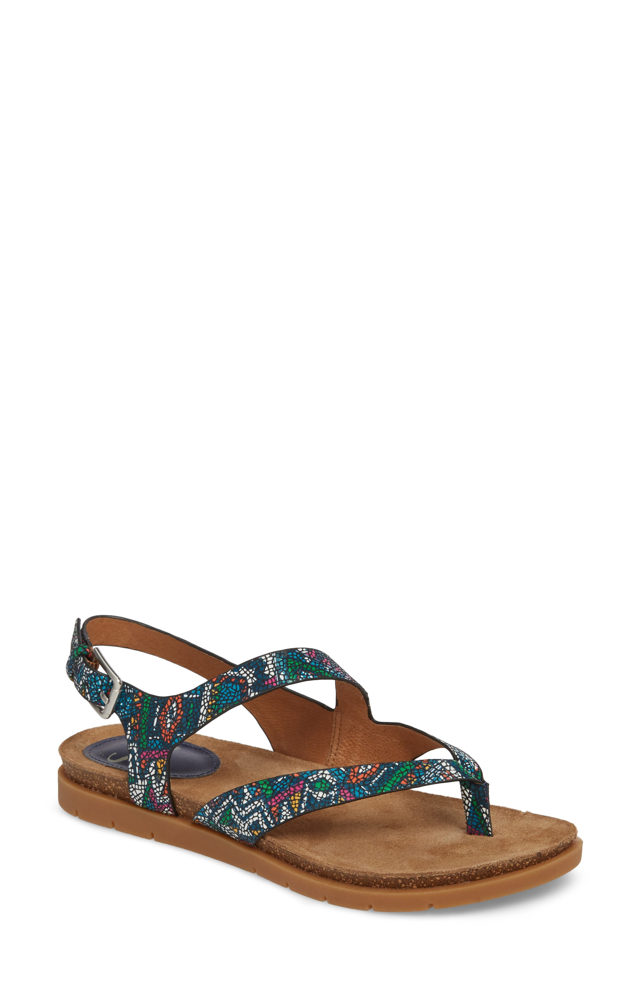 Rory Sandal,                         Main,                         color, Blue Multi Printed Leather