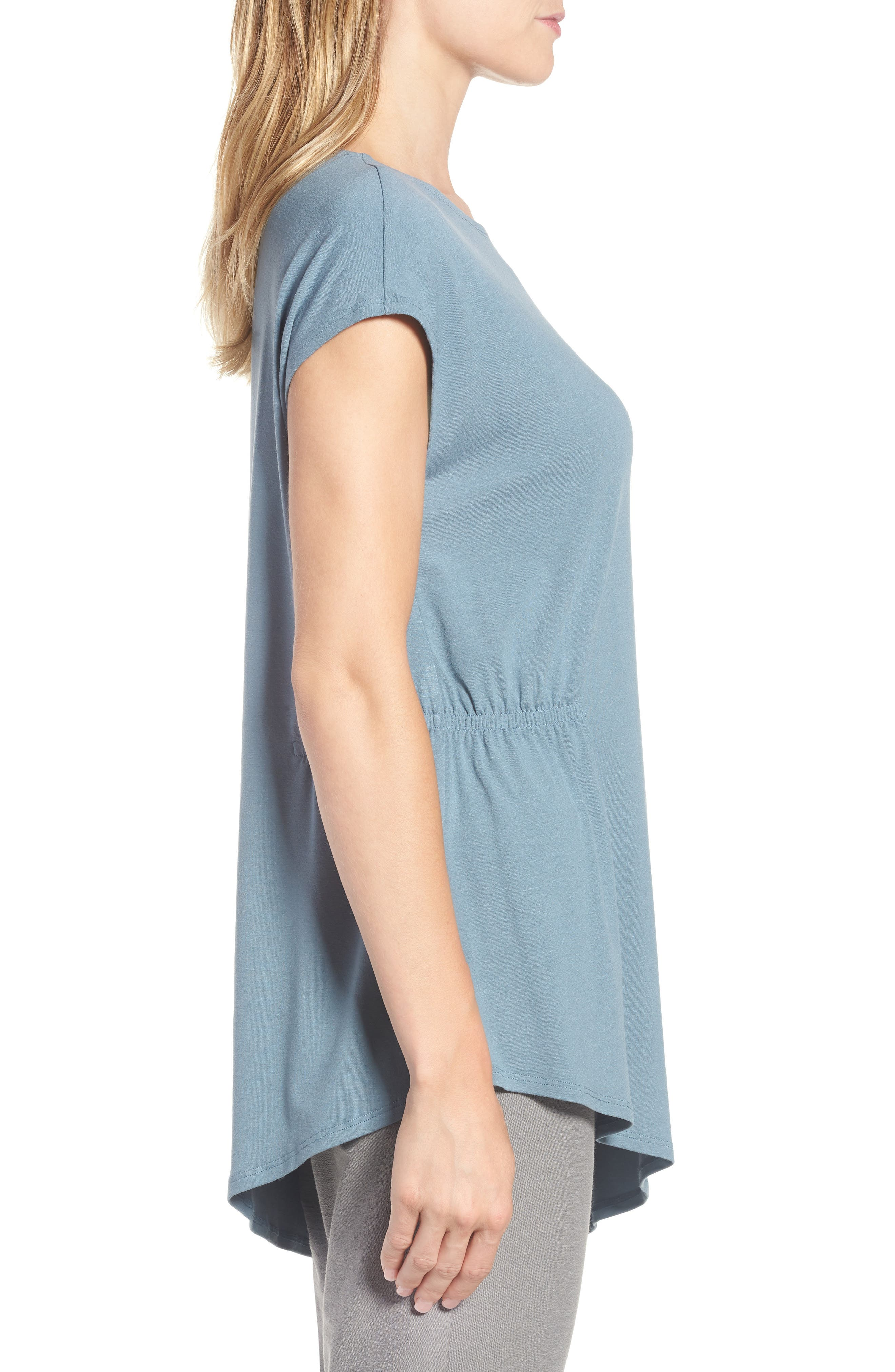 Asymmetrical Stretch Jersey Top,                             Alternate thumbnail 3, color,                             Blue Steel