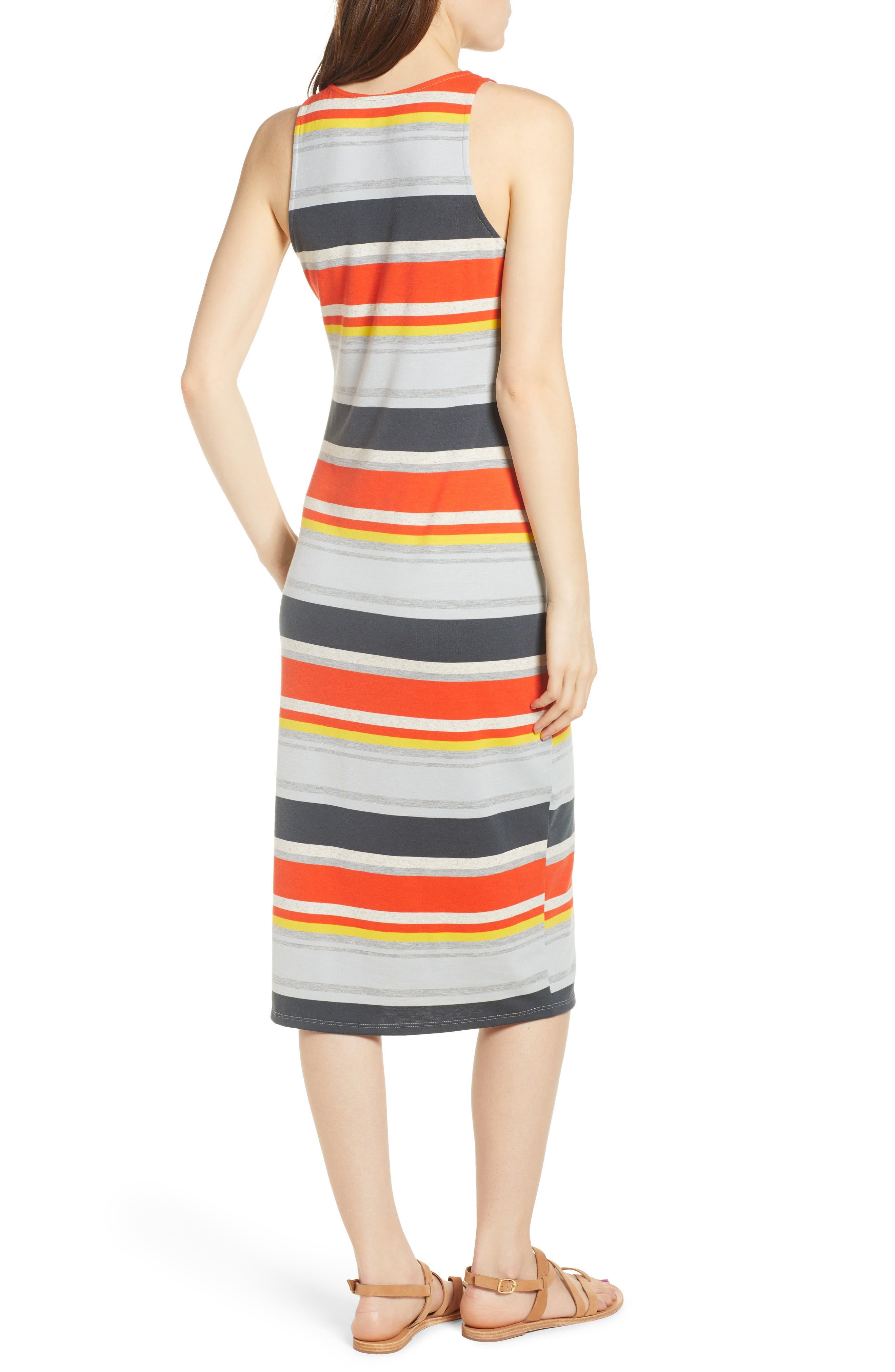 Stripe Midi Dress,                             Alternate thumbnail 2, color,                             Orange Multi