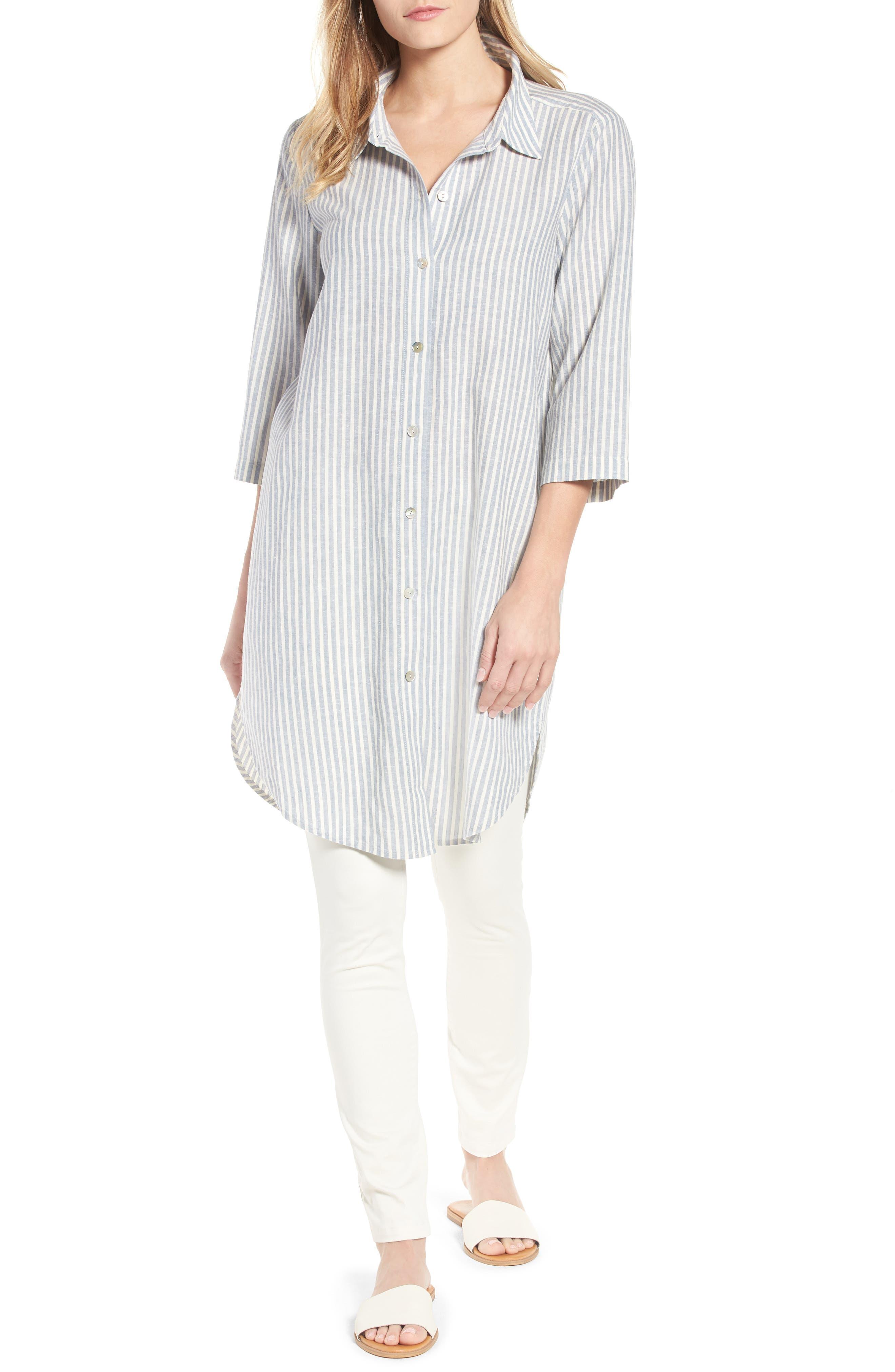 Eileen Fisher Stripe Tunic Top (Regular & Petite)