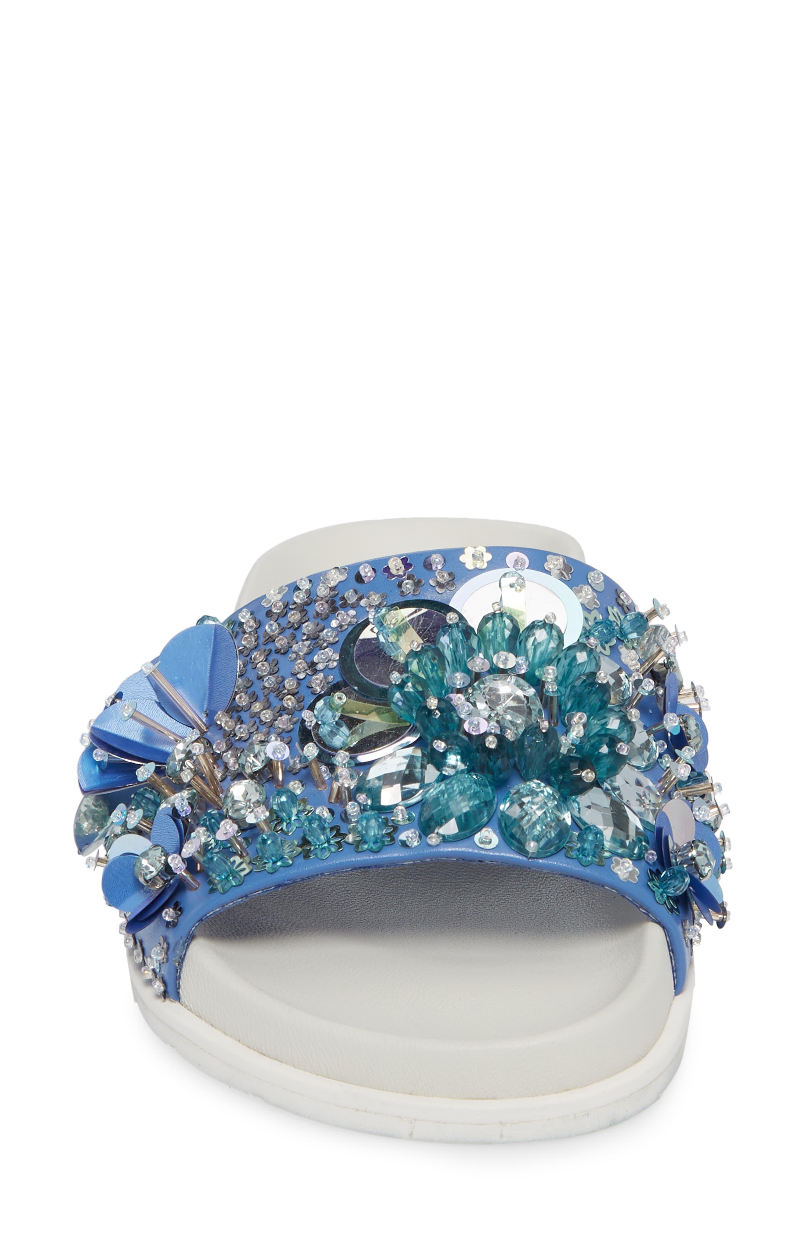 Xenia Sequin Embellished Sandal,                             Alternate thumbnail 4, color,                             Blue Multi Fabric