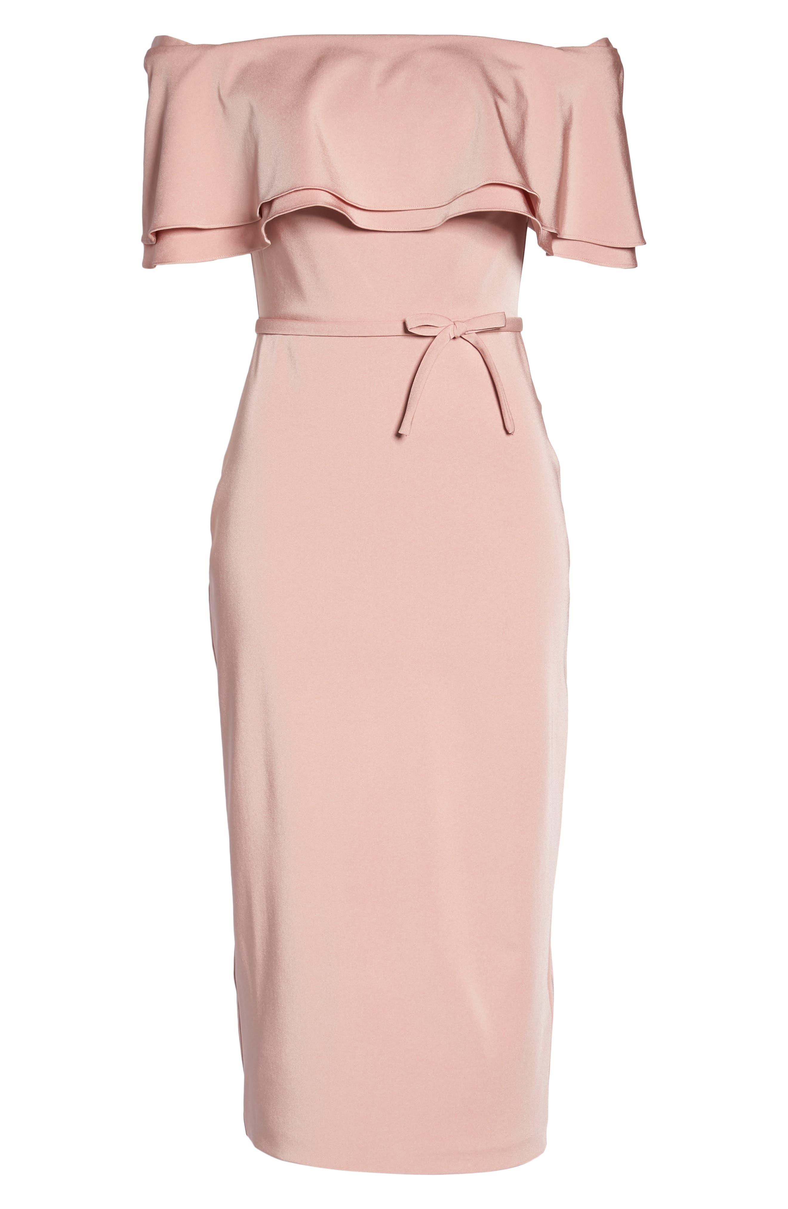 Ruffle Off the Shoulder Tea Length Dress,                             Alternate thumbnail 6, color,                             Rose
