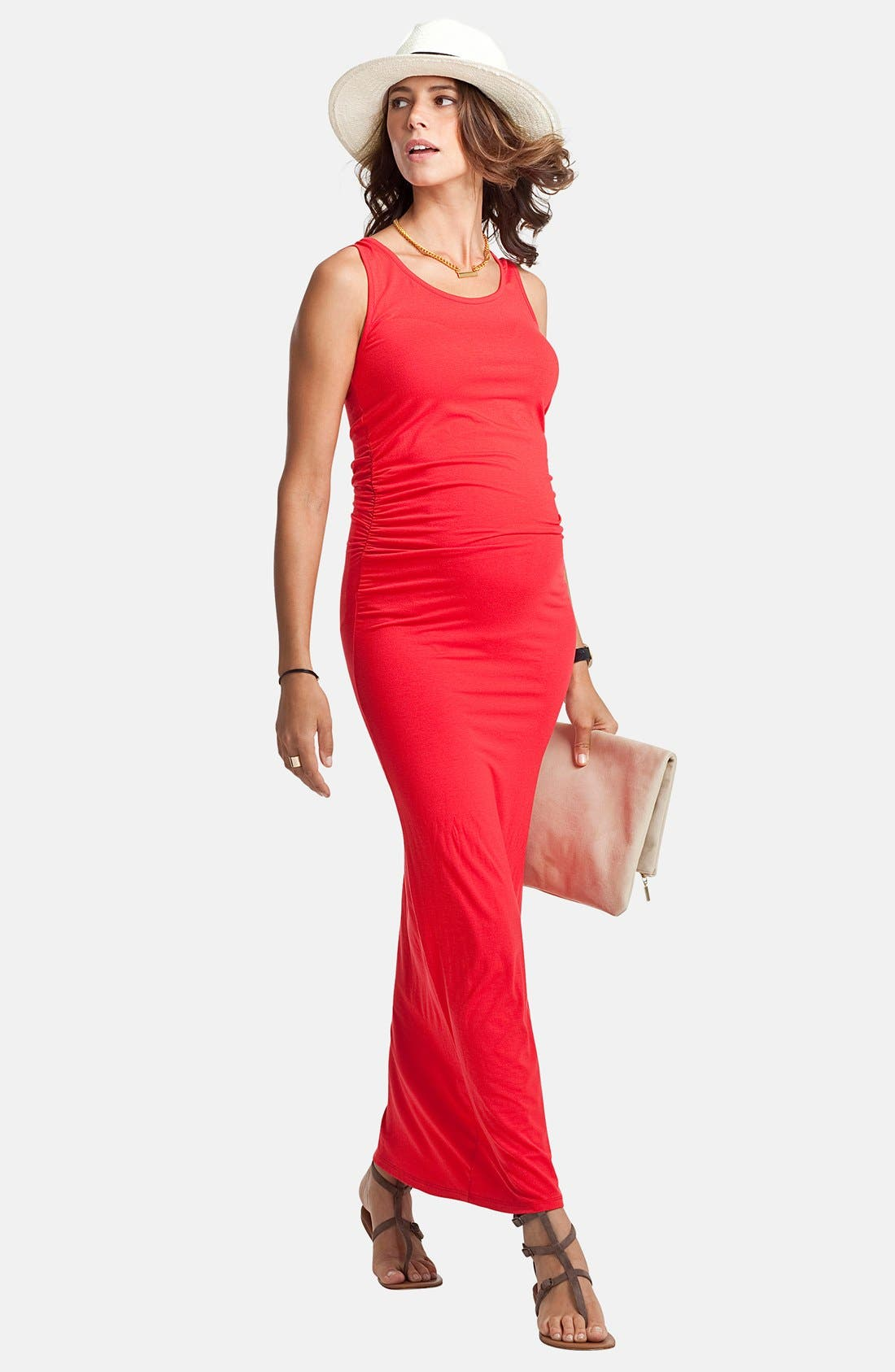 'Lisle' Maternity Maxi Tank Dress,                             Alternate thumbnail 2, color,                             Bright Coral