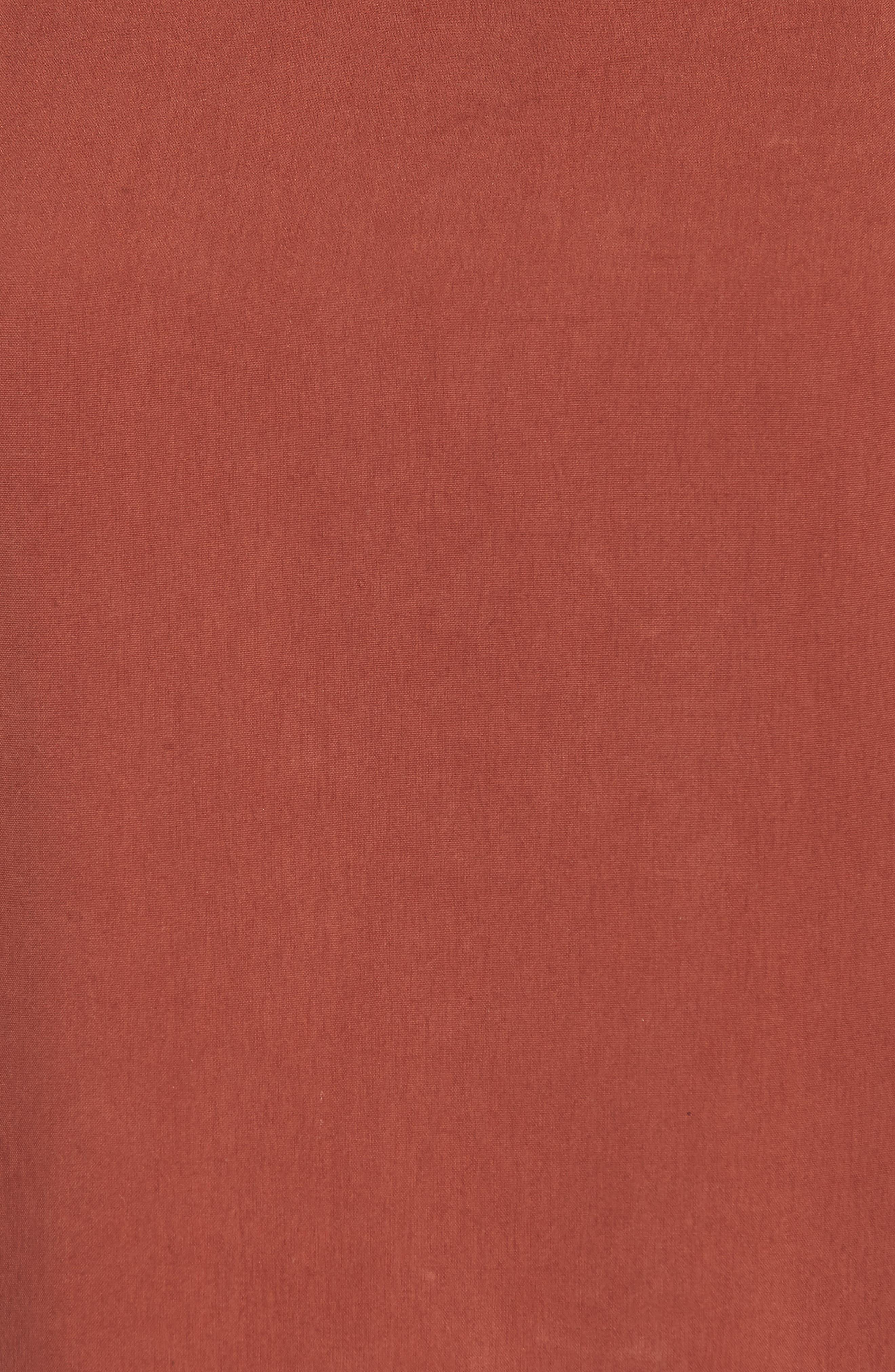 Contrast Trim Silk Top,                             Alternate thumbnail 6, color,                             Russet
