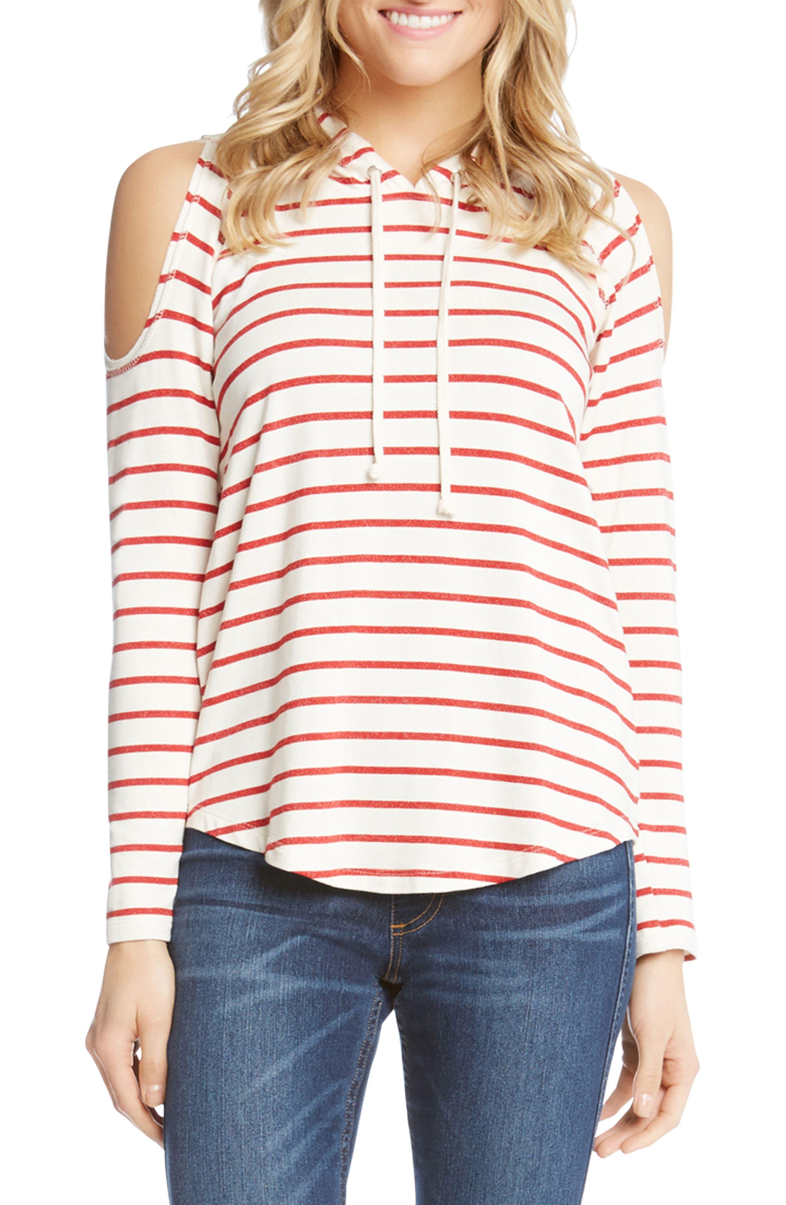 Karen Kane Cold Shoulder Stripe Hoodie