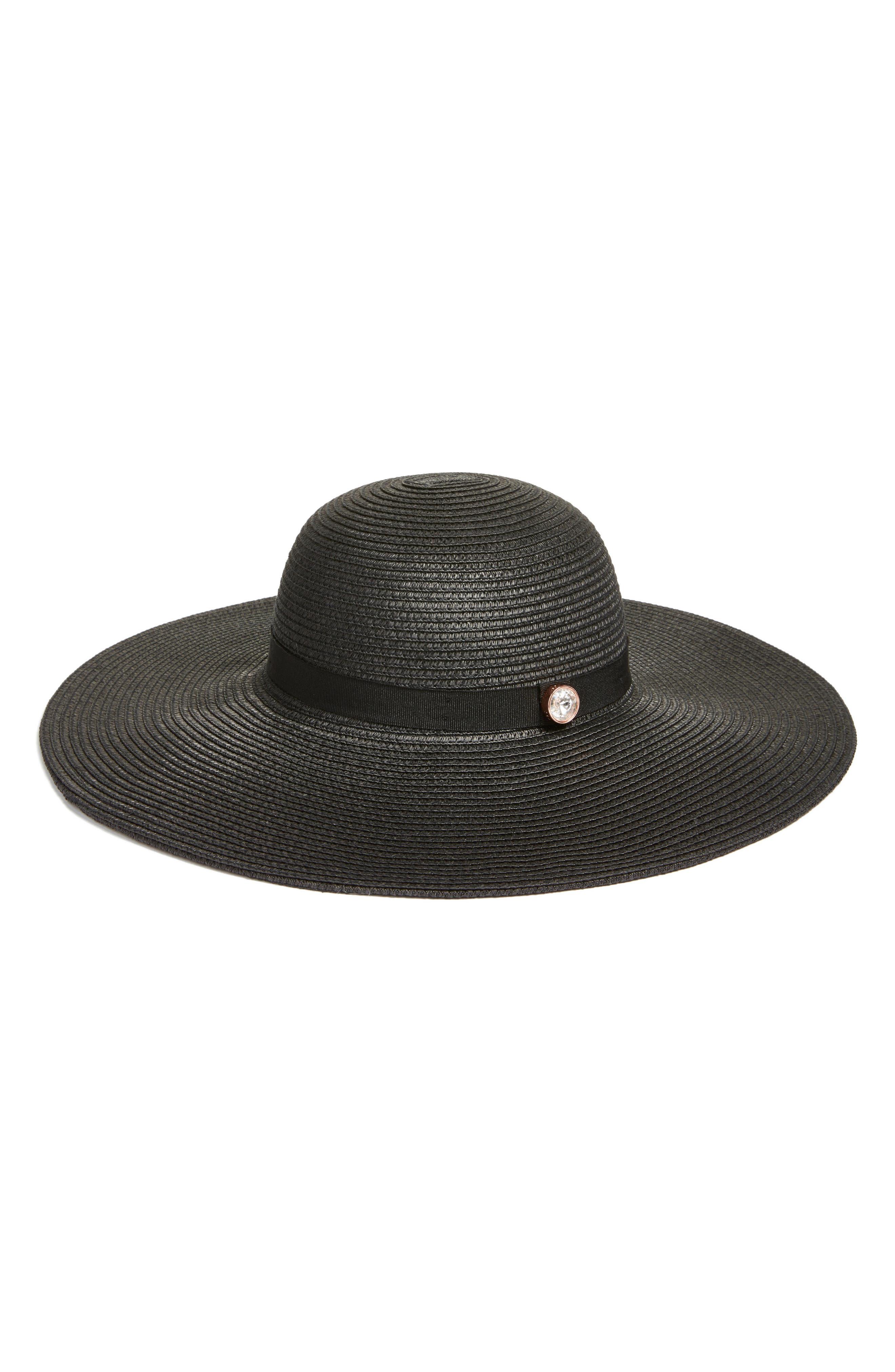 Theasa Straw Hat,                             Main thumbnail 1, color,                             Black