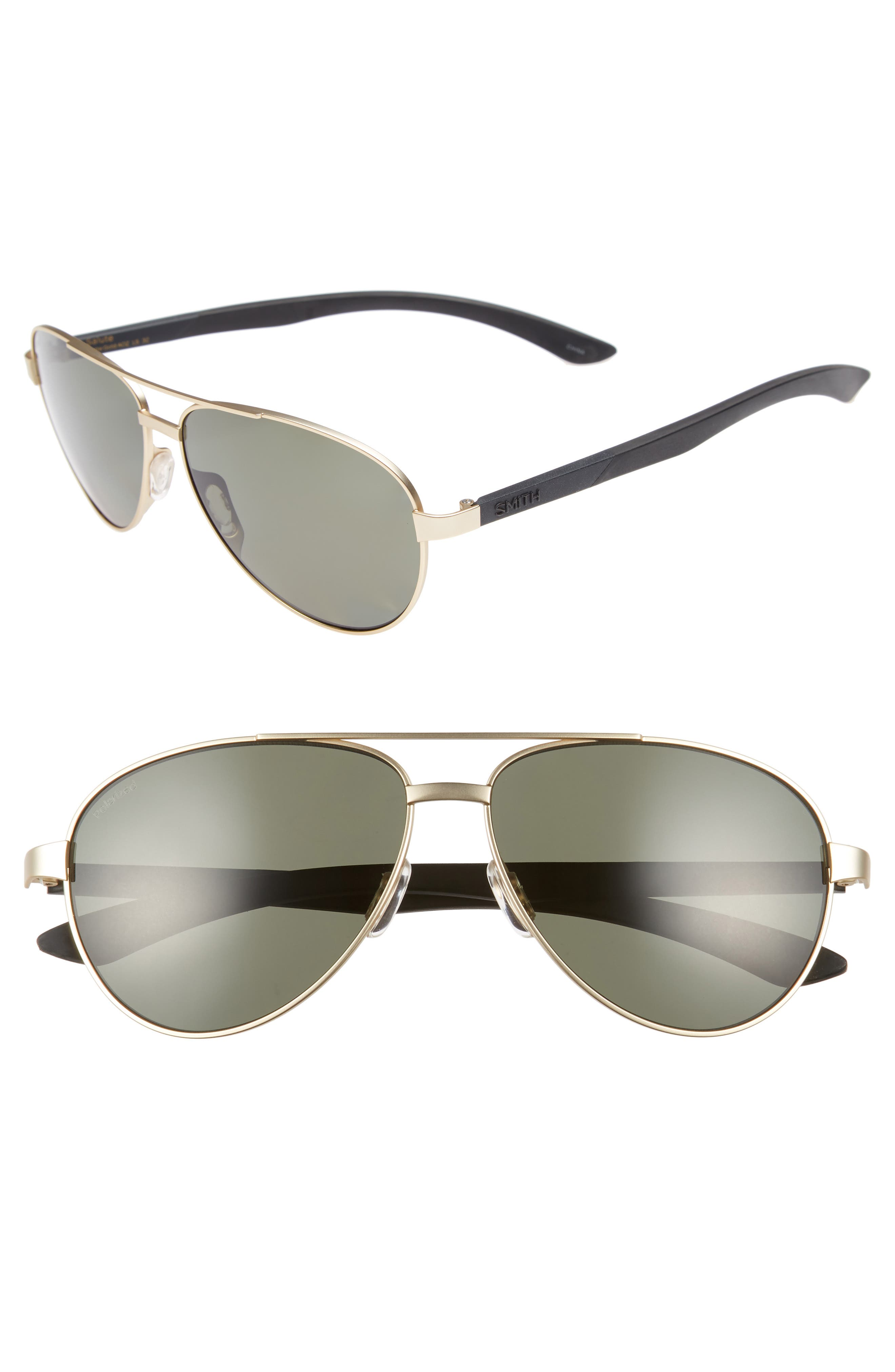 Salute 59mm Polarized Aviator Sunglasses,                             Main thumbnail 1, color,                             Matte Gold
