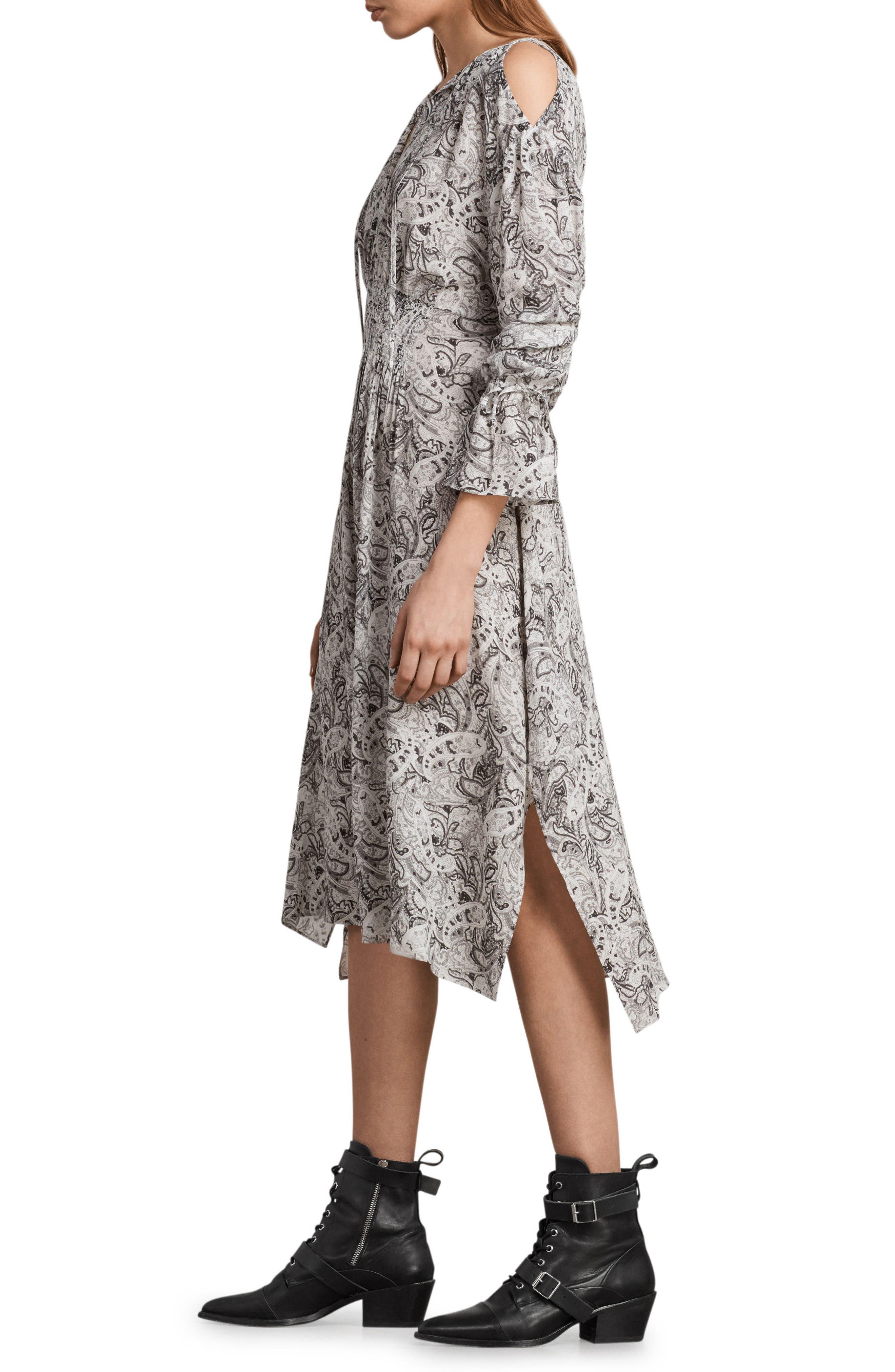 Lavete Paisley Cold Shoulder Midi Dress,                             Alternate thumbnail 3, color,                             White