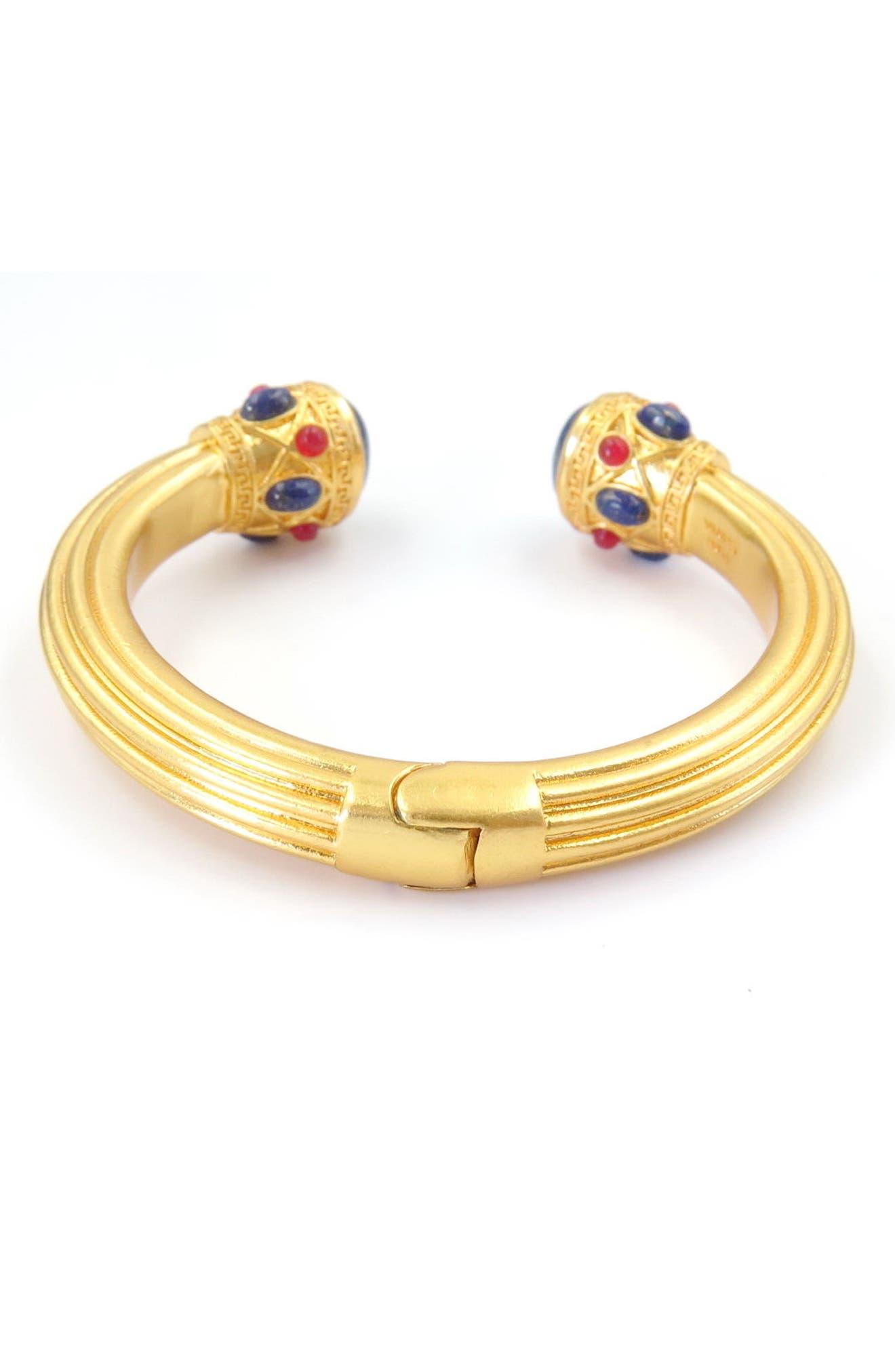 Lapis & Quartzite Cuff Bracelet,                             Alternate thumbnail 2, color,                             Gold