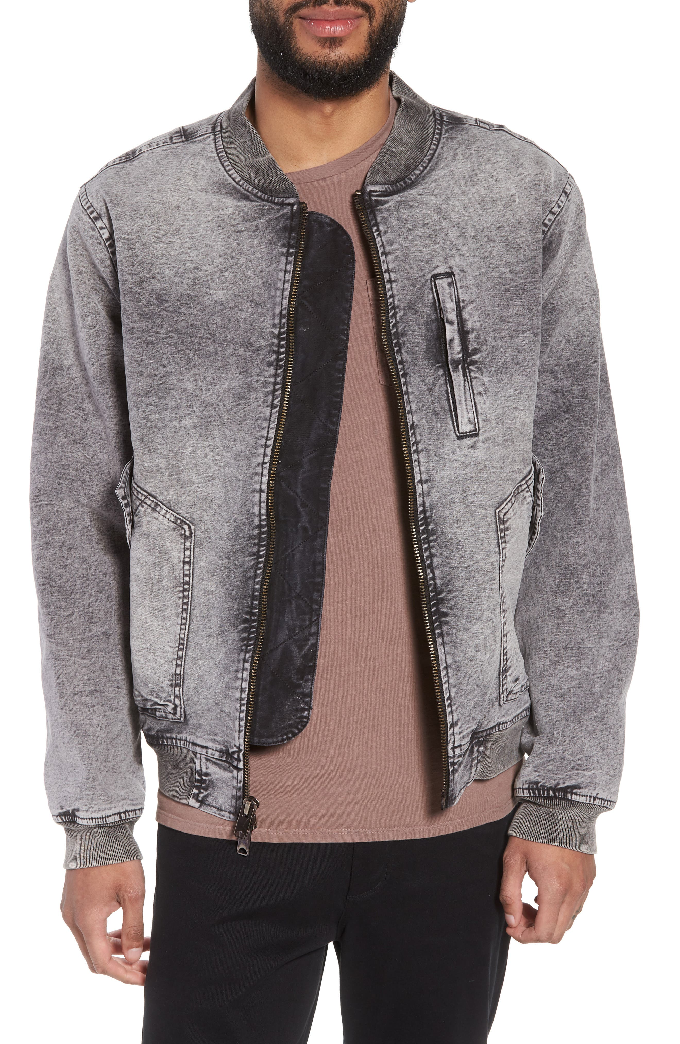 Hudson Regular Fit Bomber Jacket,                         Main,                         color, Mineral Black