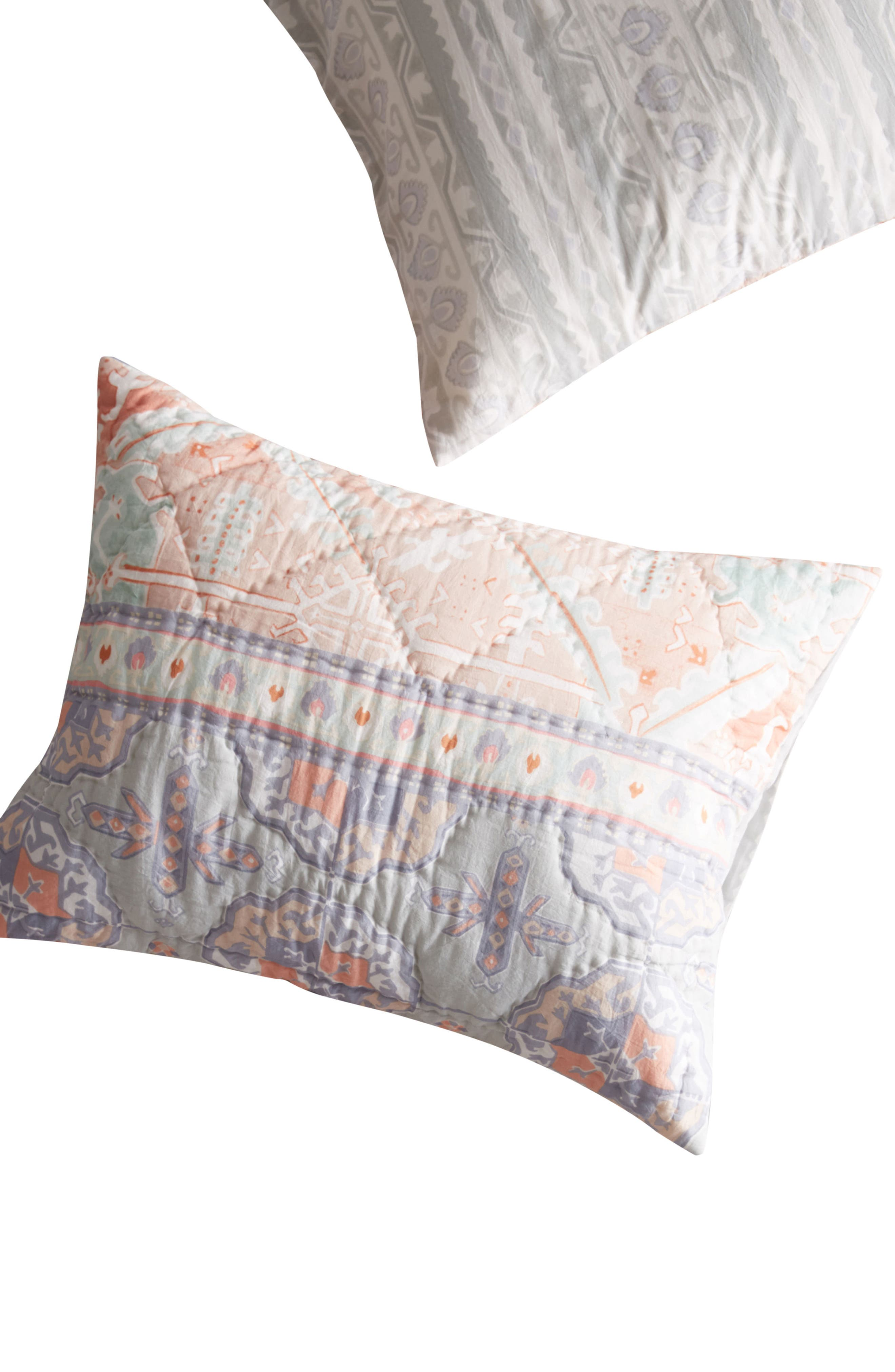 Pilar Set of Quilted Shams,                             Alternate thumbnail 2, color,                             Coral