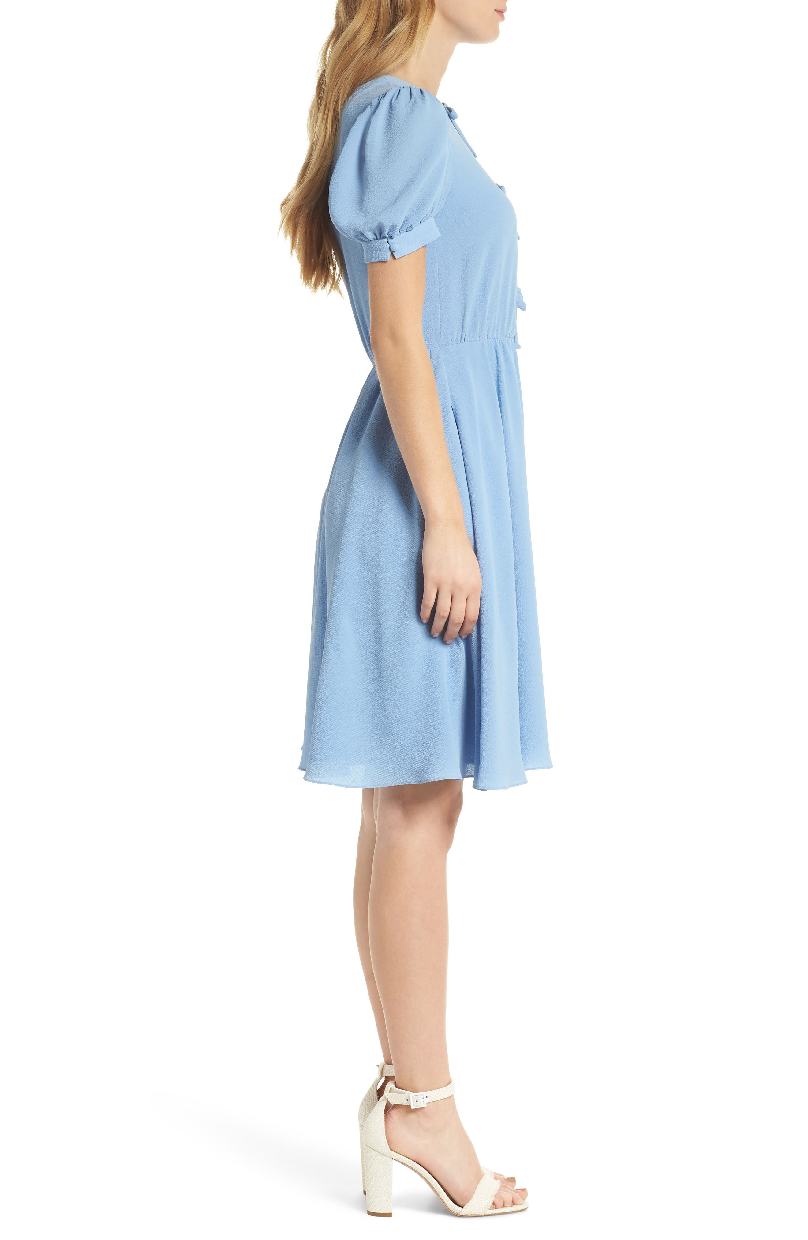 Ellie Crepe Puff Sleeve Dress,                             Alternate thumbnail 4, color,                             Sky Blue