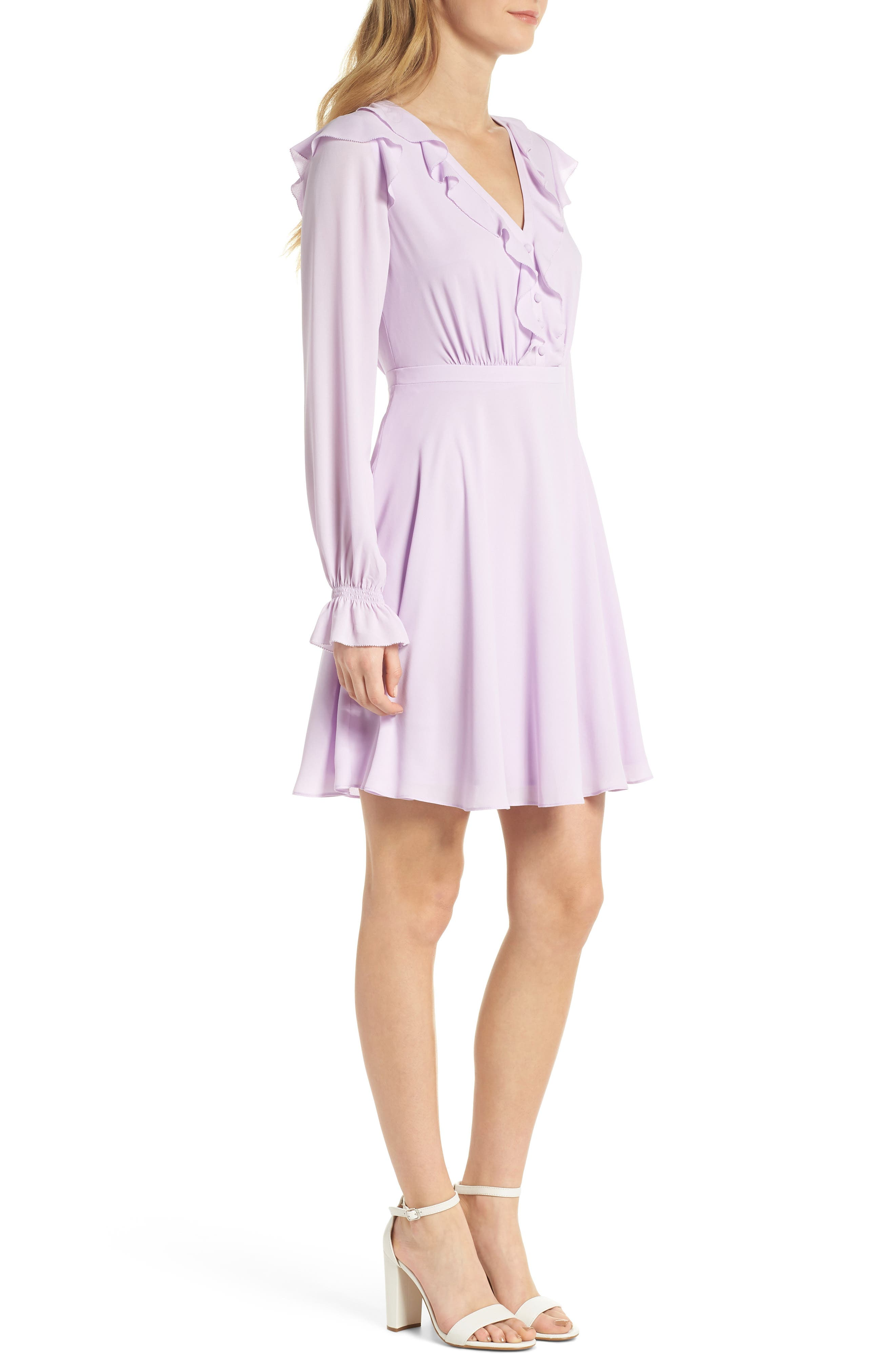 Haley Ruffle Georgette Dress,                             Alternate thumbnail 4, color,                             Lilac