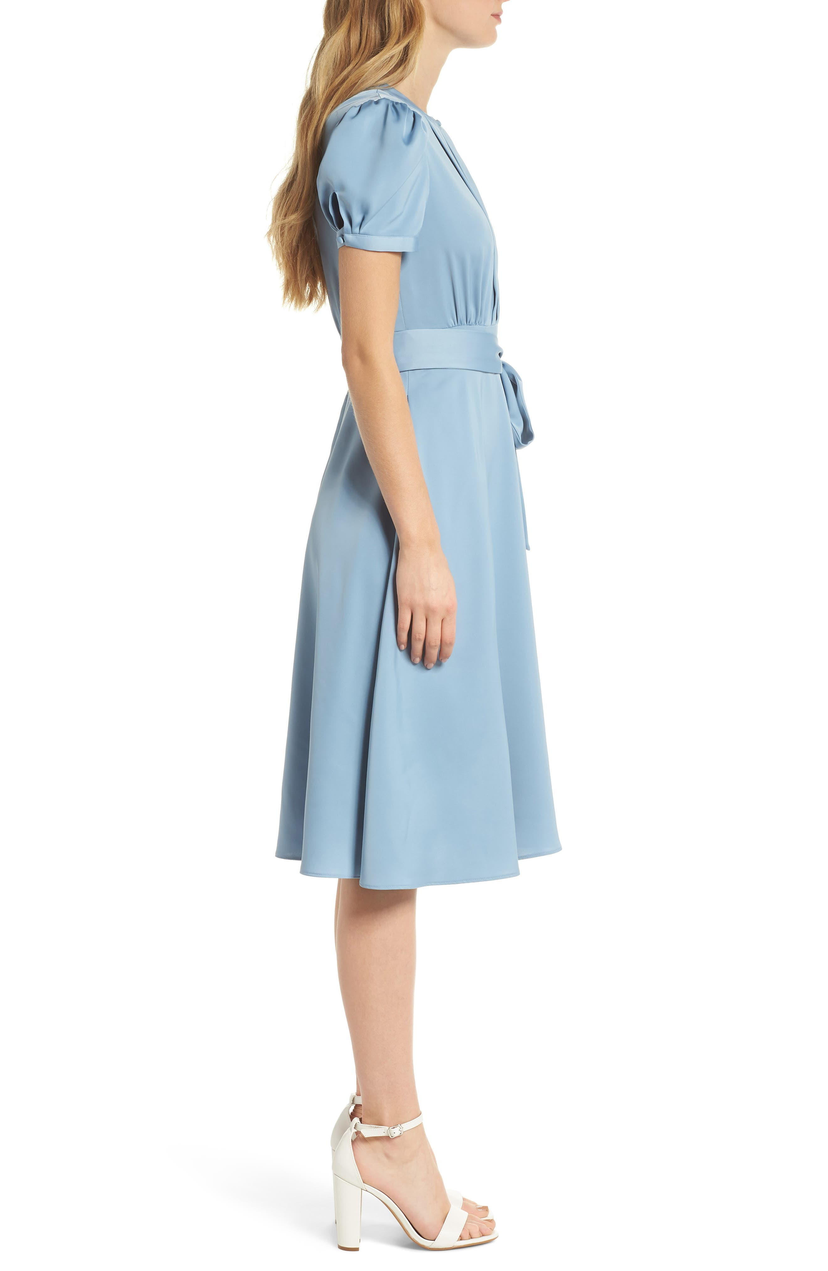 Marilyn Satin Fit & Flare Dress,                             Alternate thumbnail 4, color,                             Cornflower