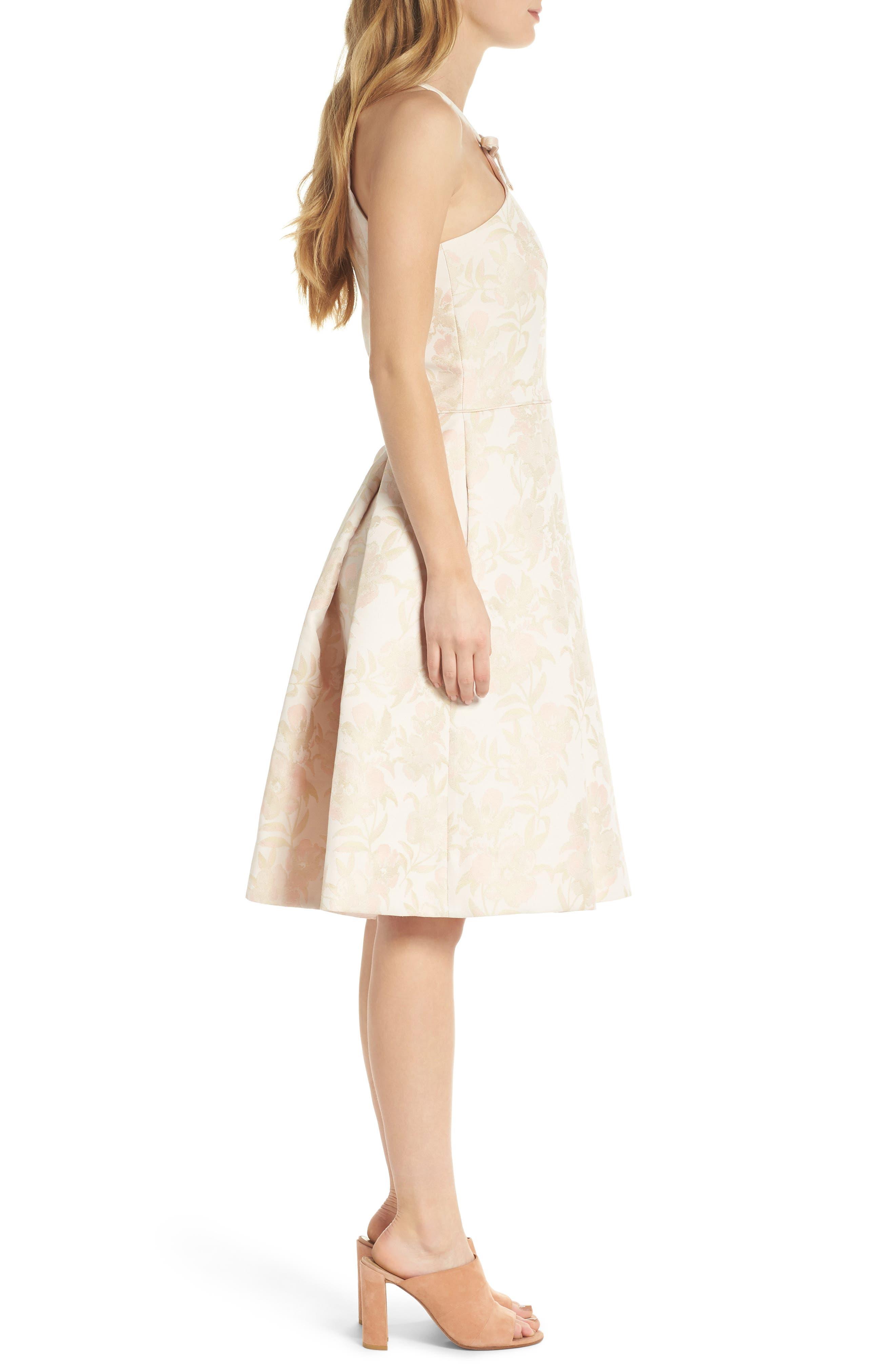 Evelyn Sea Holly Jacquard Halter Dress,                             Alternate thumbnail 4, color,                             Blush Combo