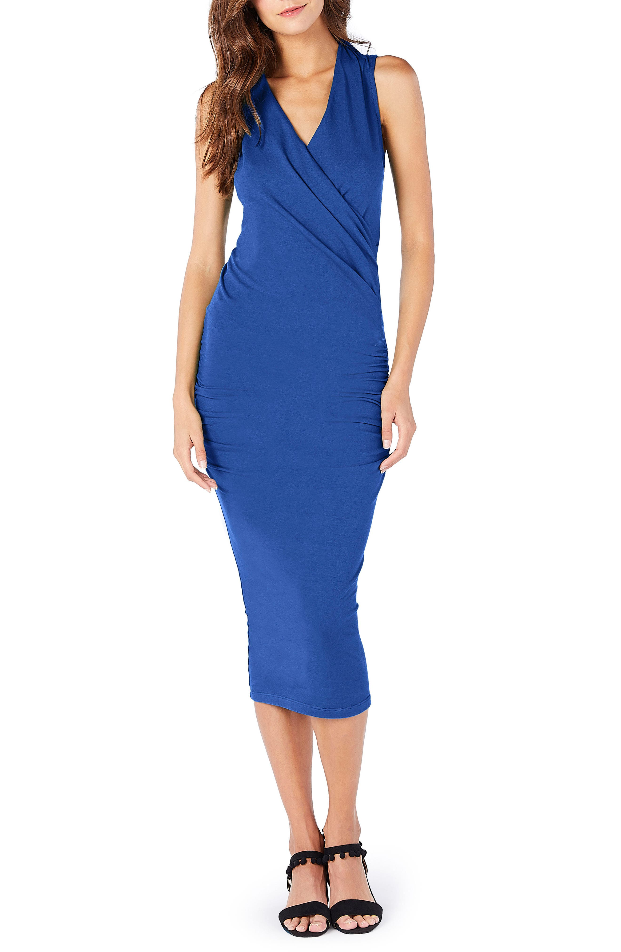 Faux Wrap Midi Dress,                             Main thumbnail 1, color,                             Marina
