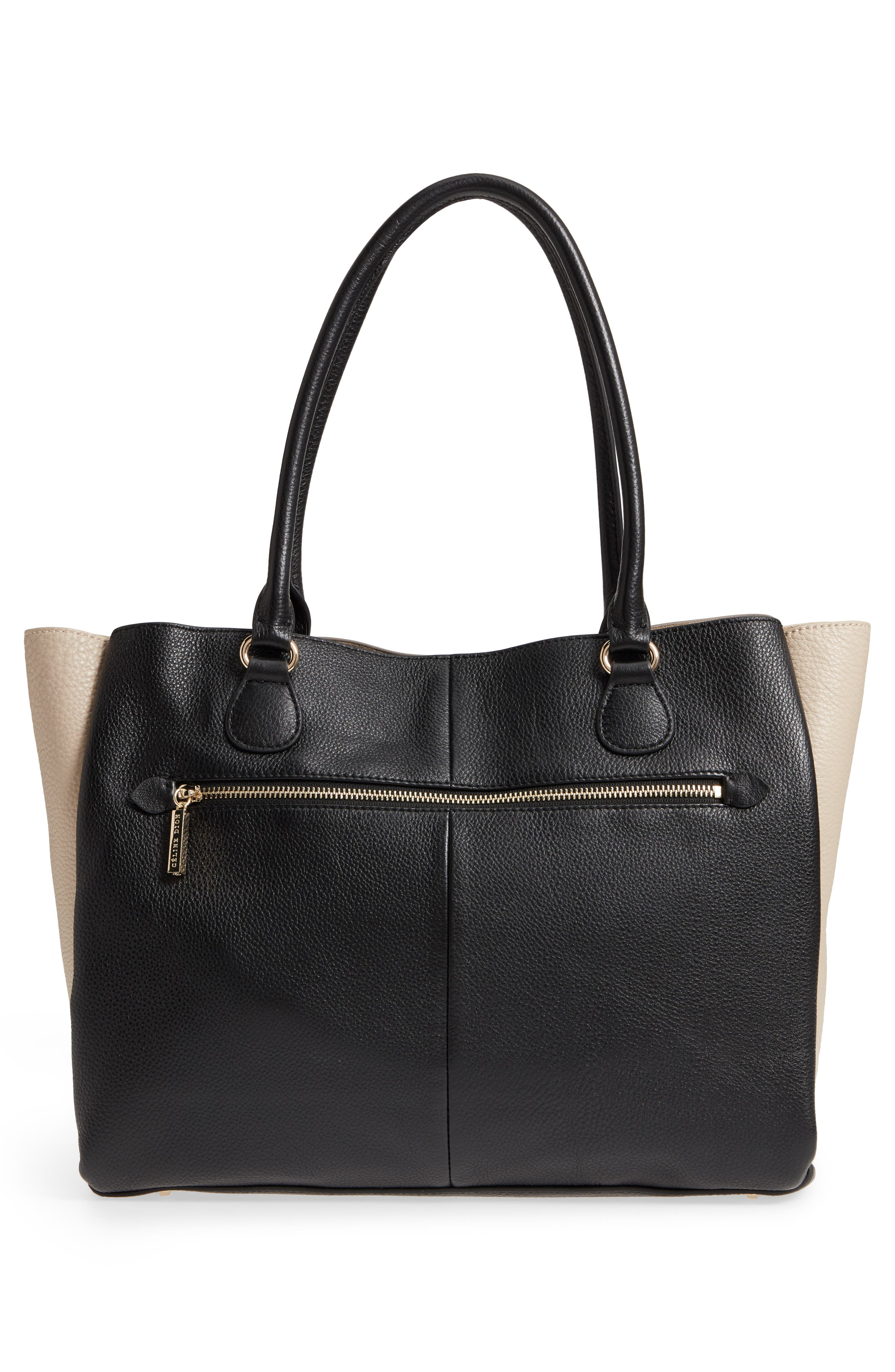 Céline Dion Adagio Leather Tote,                             Alternate thumbnail 3, color,                             Taupe Combo