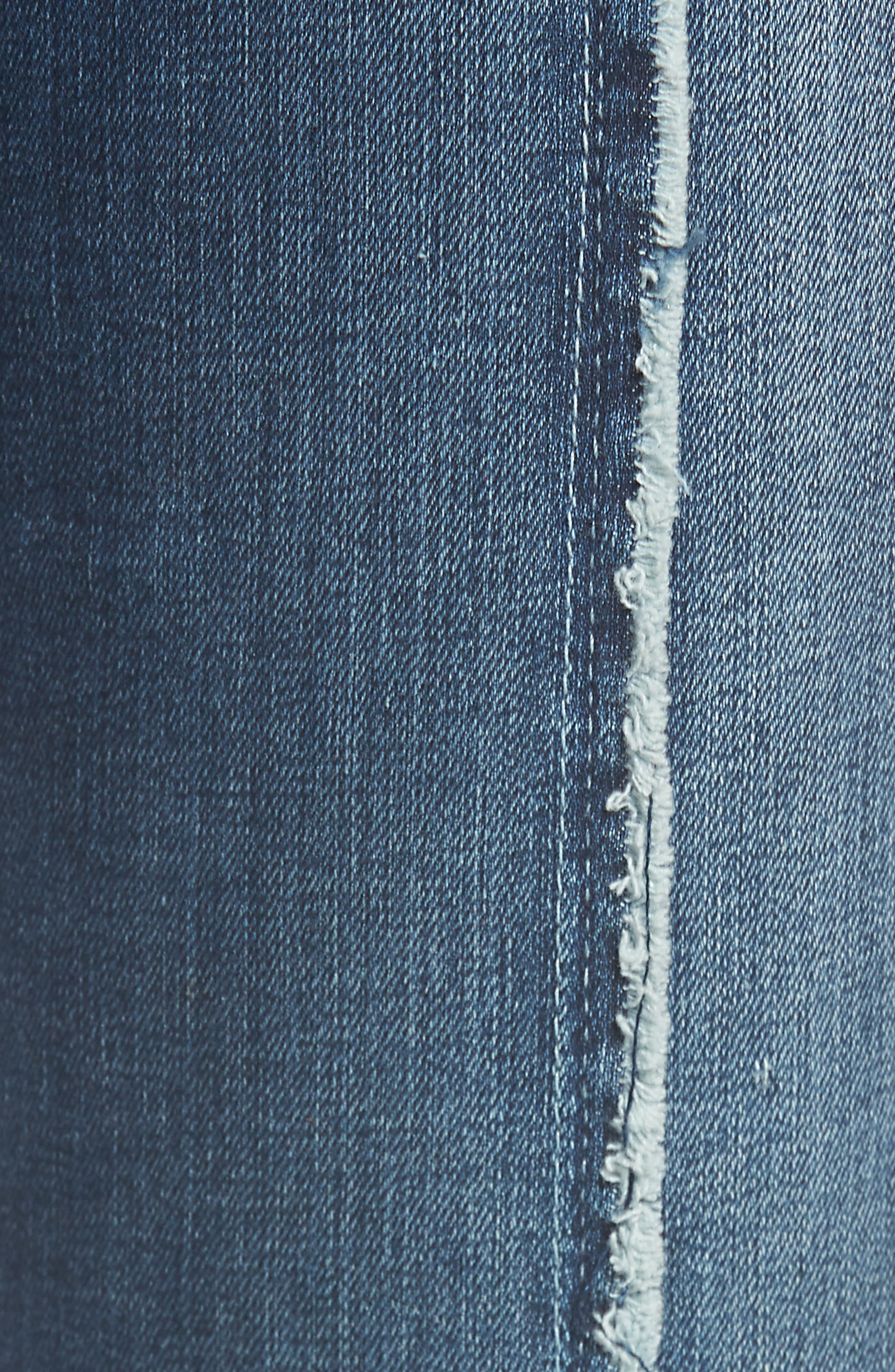 Good Jeans Raw Seam Crop Skinny Jeans,                             Alternate thumbnail 6, color,                             Blue135
