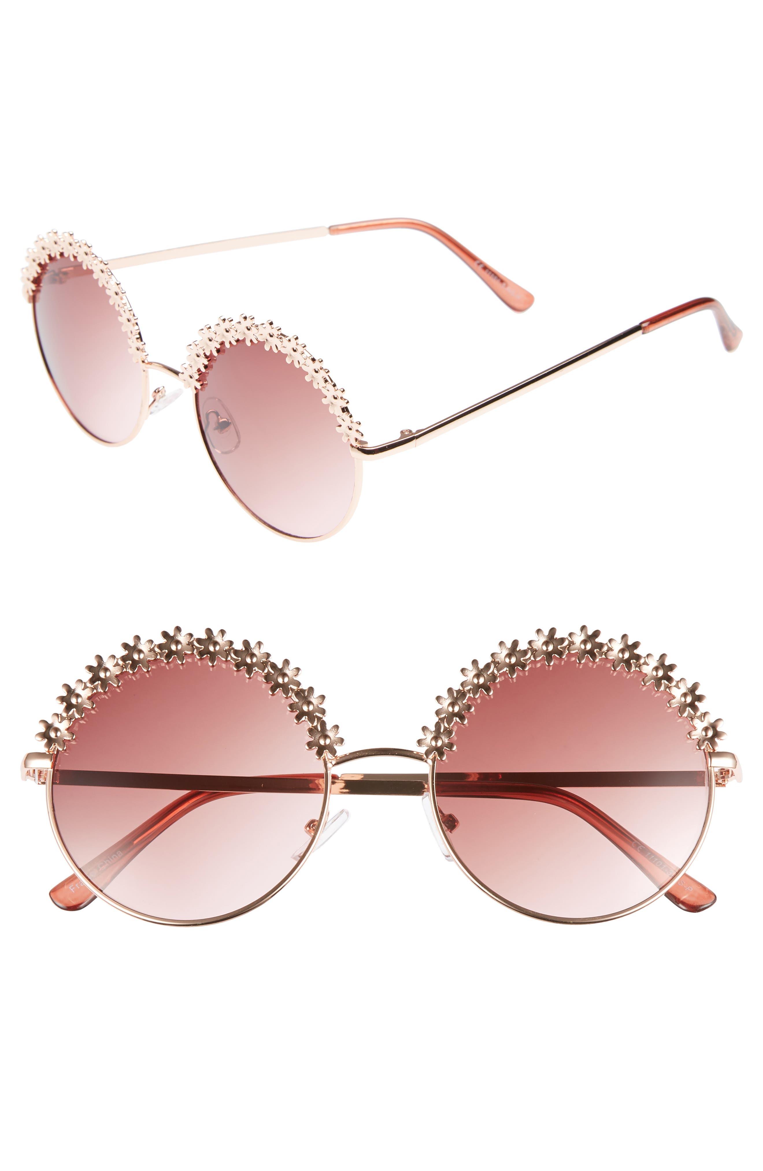 52mm Flower Trim Round Sunglasses,                         Main,                         color, Gold