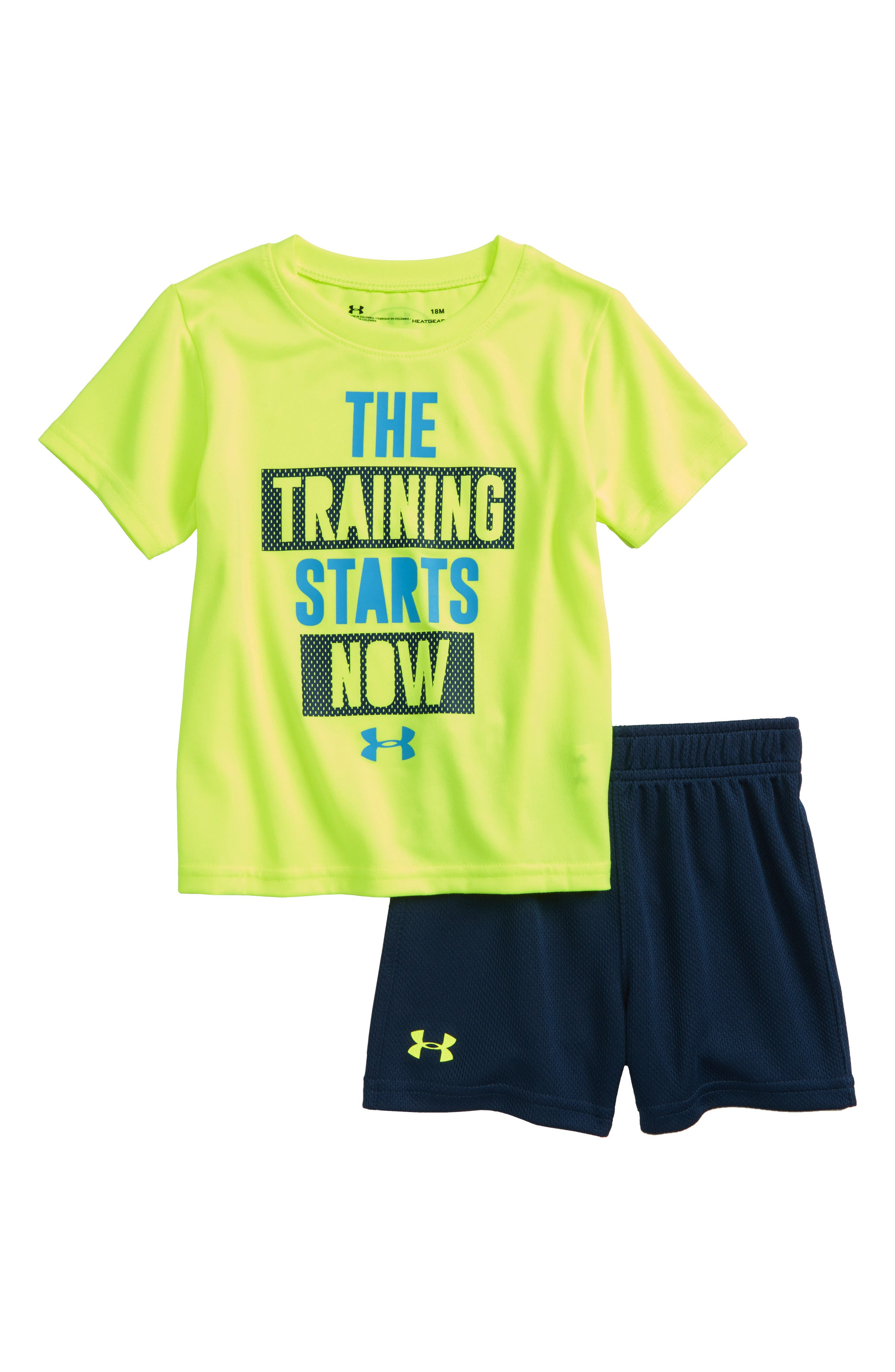 The Training Starts Now T-Shirt & Shorts Set,                         Main,                         color, Green/ Yellow