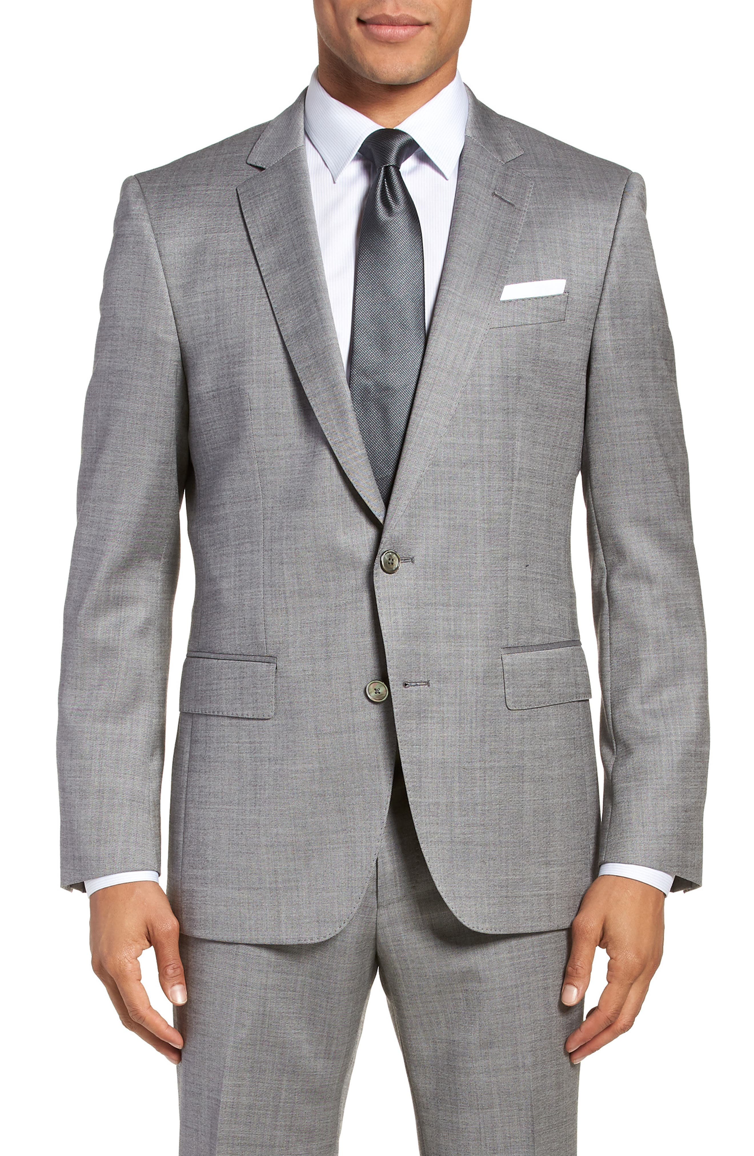 Hutsons/Gander Trim Fit Solid Wool & Silk Suit,                             Alternate thumbnail 5, color,                             Light Grey